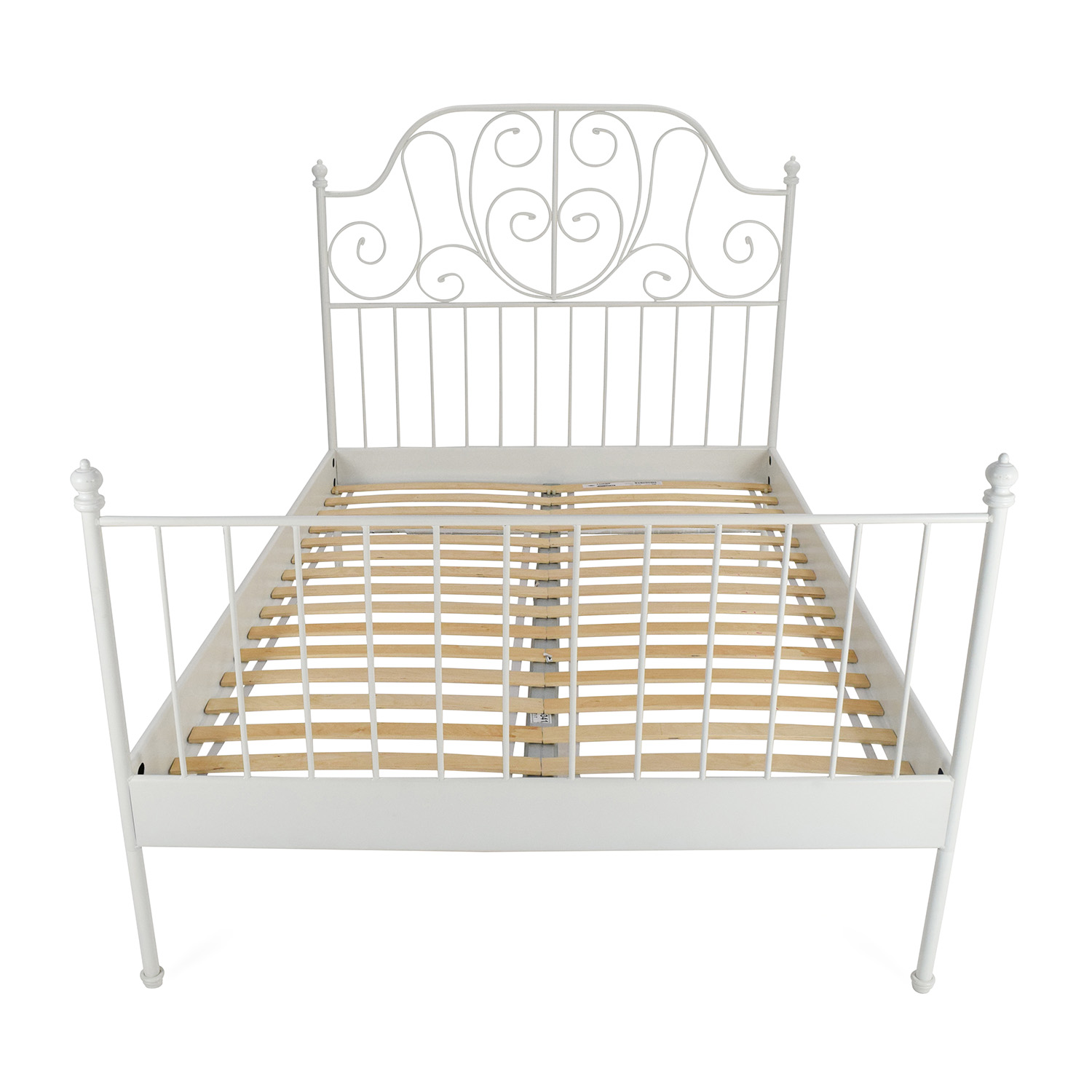 72 off west elm west elm low wood cutout queen bed beds for Full size bed ikea