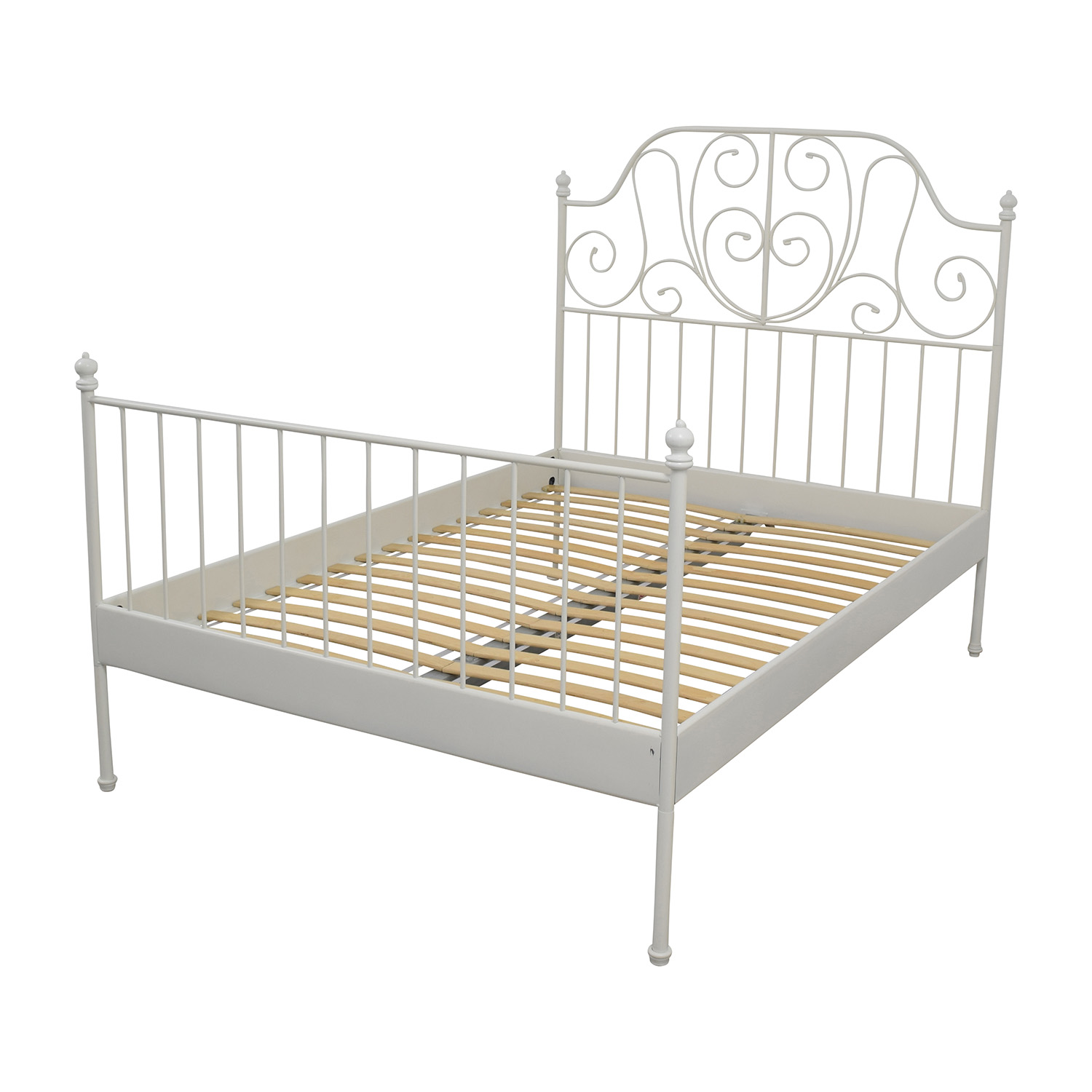 64 off ikea ikea leirvik full size bed frame beds for Full size bed ikea