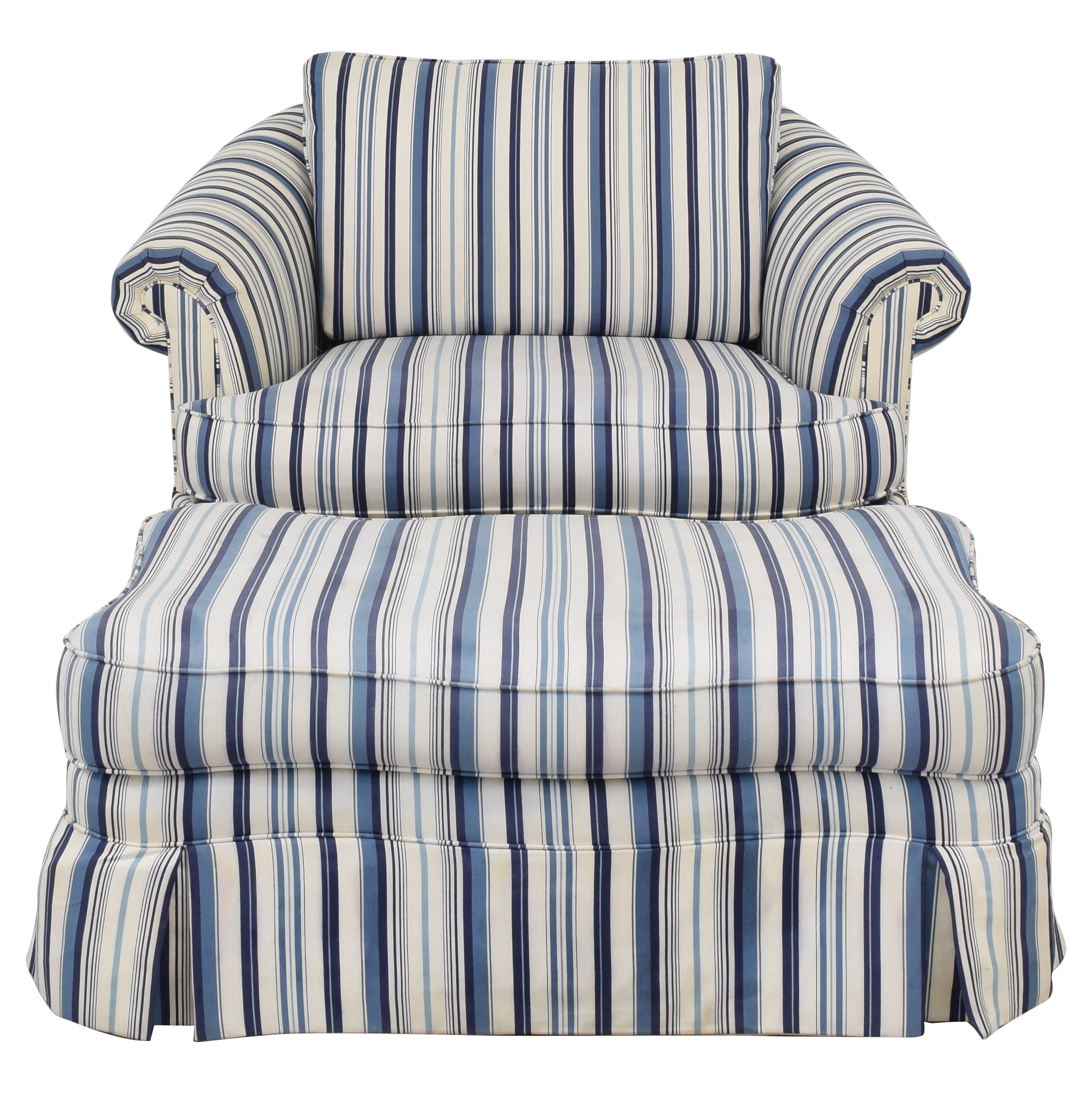buy Ethan Allen Ethan Allen Skirted Slipcovered Armchair with Ottoman online