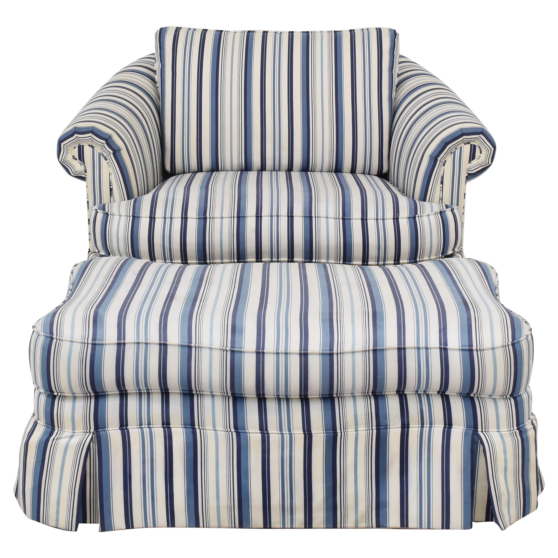 Ethan Allen Ethan Allen Skirted Slipcovered Armchair with Ottoman