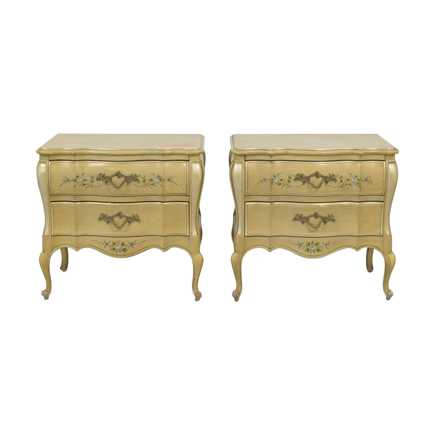Rucker Industries Rucker Industries Dixon Powdermaker French Provincial Style Nightstands End Tables