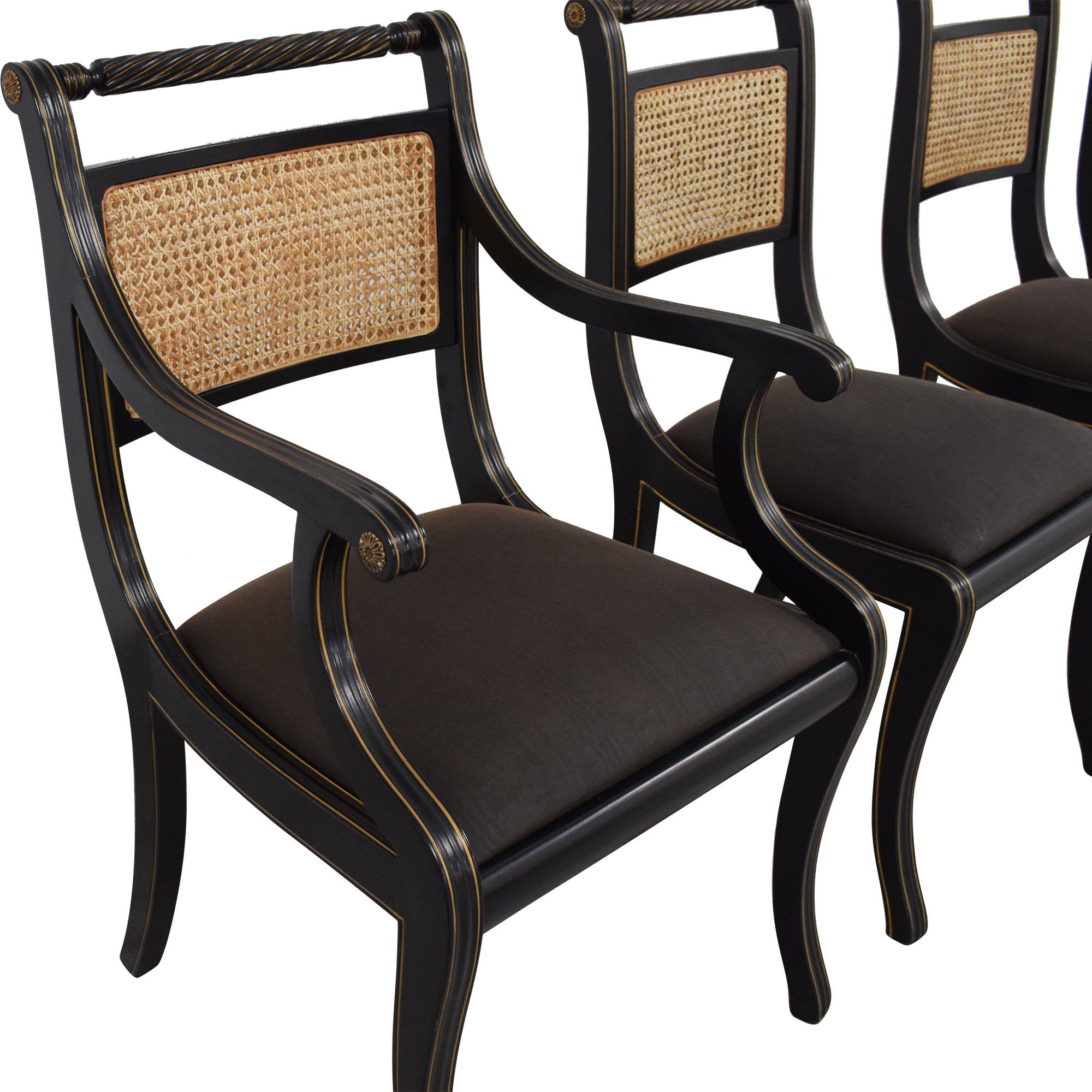 Bloomingdale's Bloomingdale's Italian Cane Back Dining Chairs black and tan