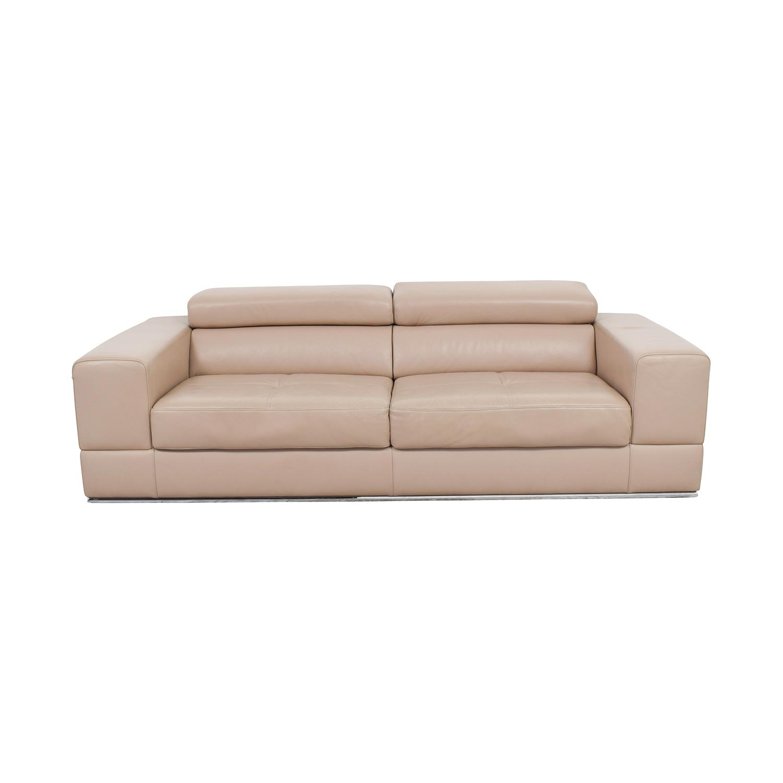 82% OFF   Lazzoni Lazzoni Beige Leather Sofa / Sofas