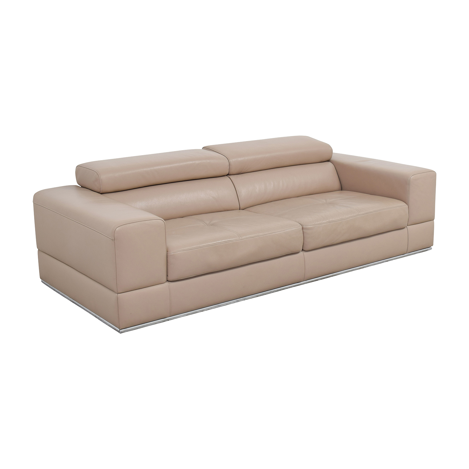 82 off lazzoni lazzoni beige leather sofa sofas. Black Bedroom Furniture Sets. Home Design Ideas