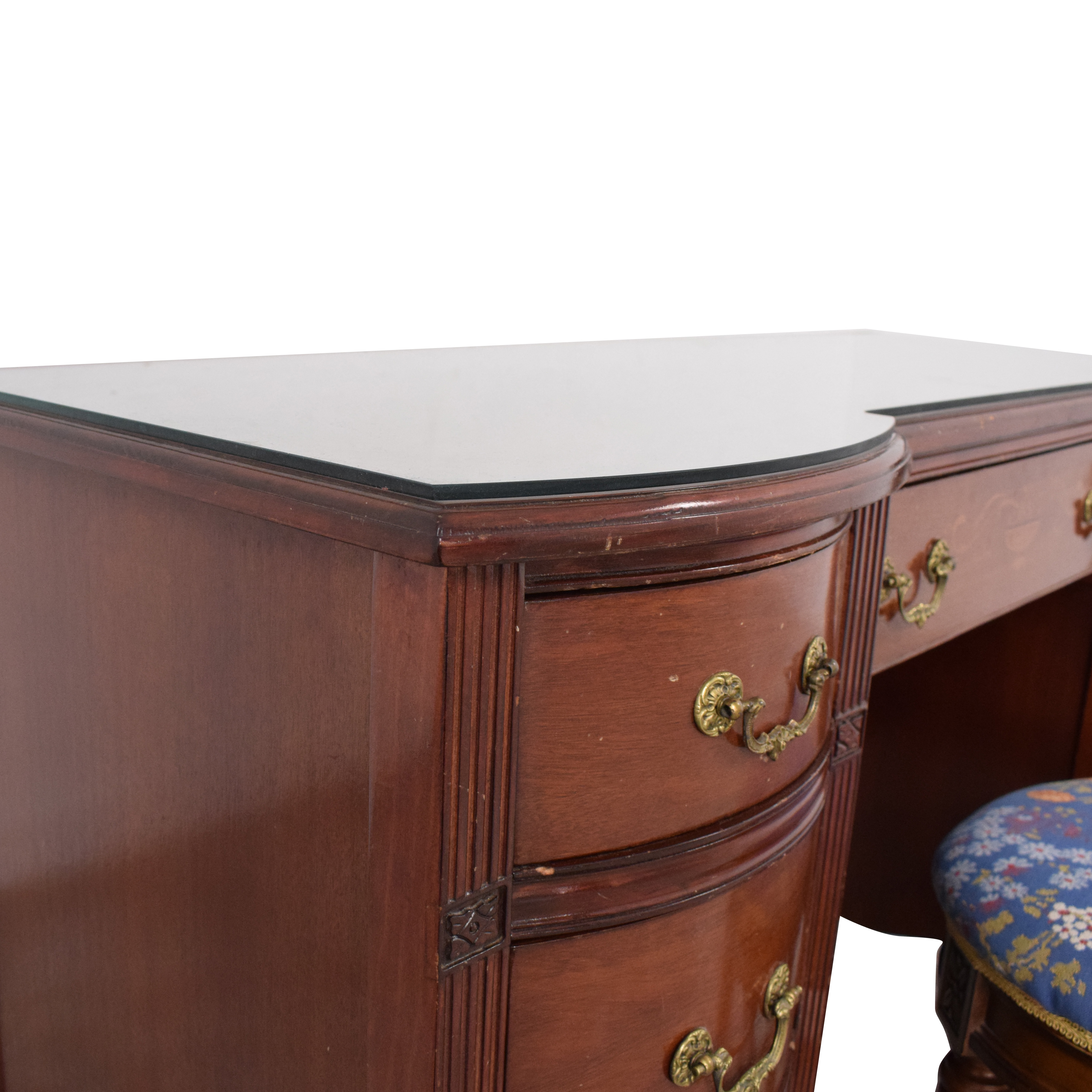 Vintage Glass Top Vanity with Stool Utility Tables