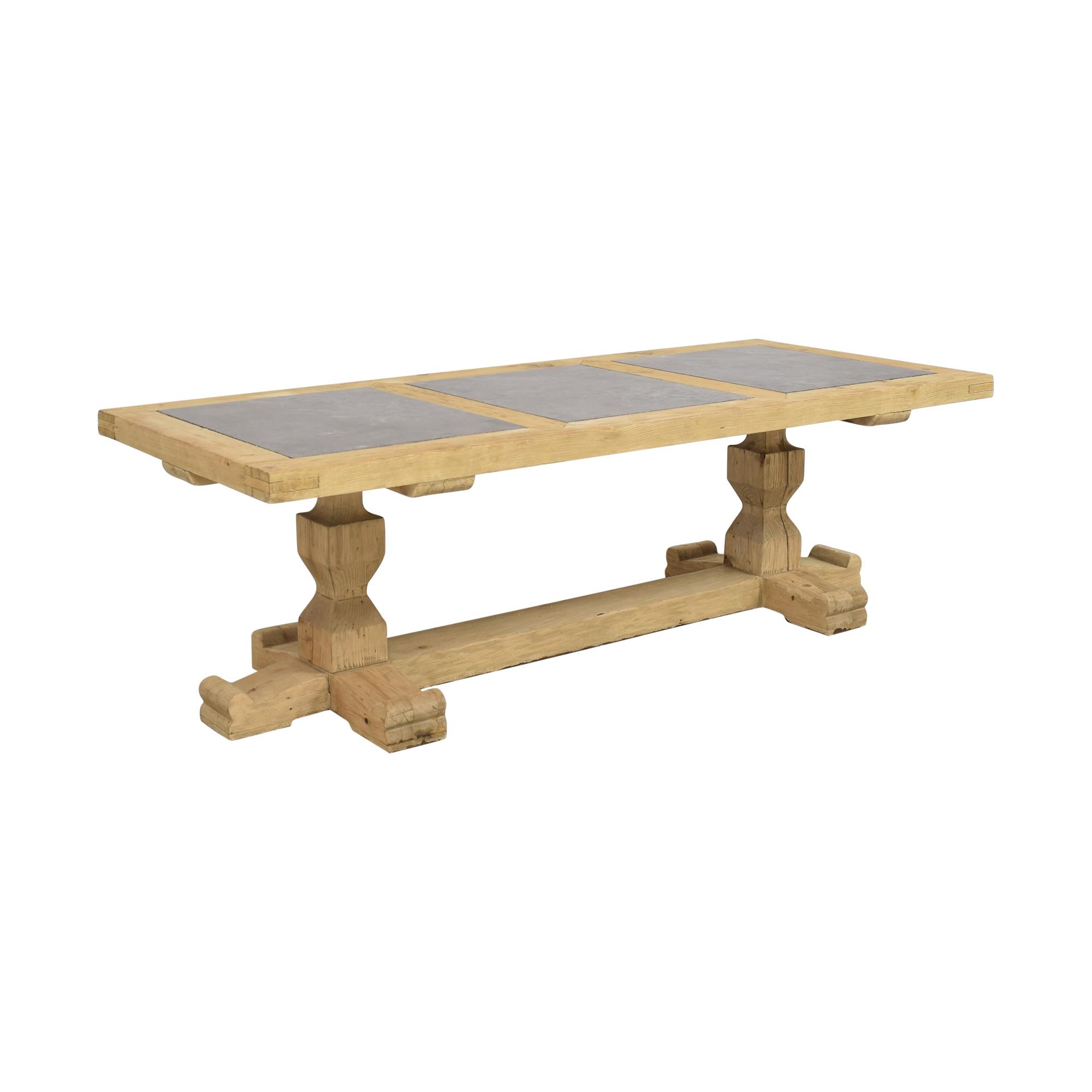 shop Restoration Hardware 18th C. Reclaimed Pine & Bluestone Rectangular Dining Table Restoration Hardware Dinner Tables