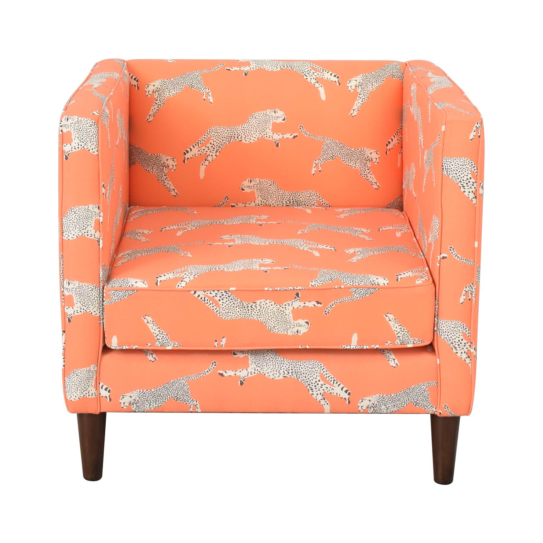 The Inside The Inside Tuxedo Chair in Coral Cheetah by Scalamandre ma