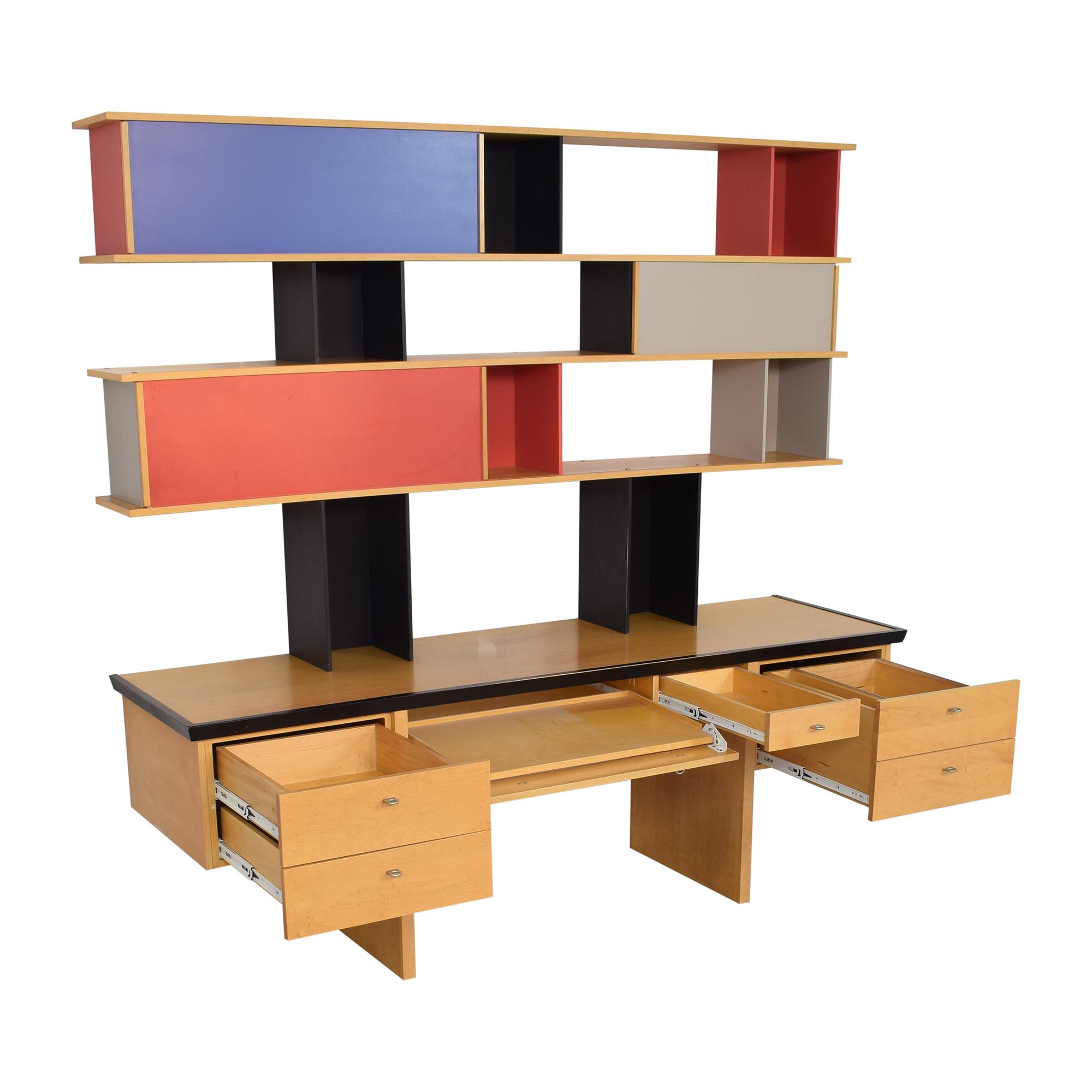 Vintage Mid Century Modular Wall Desk with Sliding Shelves on sale