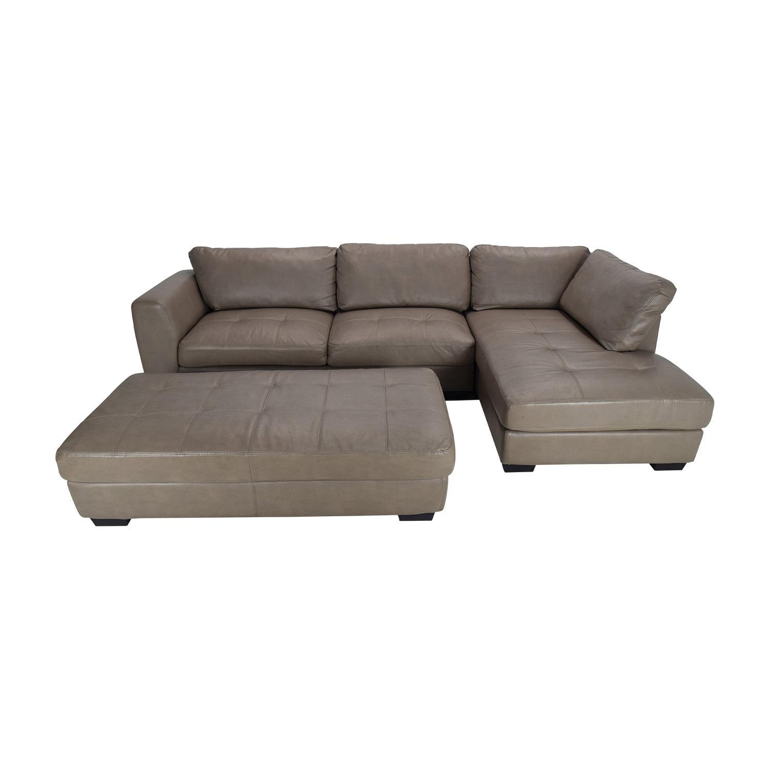 Groovy 50 Off Pellissima Luttrell Leather Sectional With Ottoman Sofas Gmtry Best Dining Table And Chair Ideas Images Gmtryco