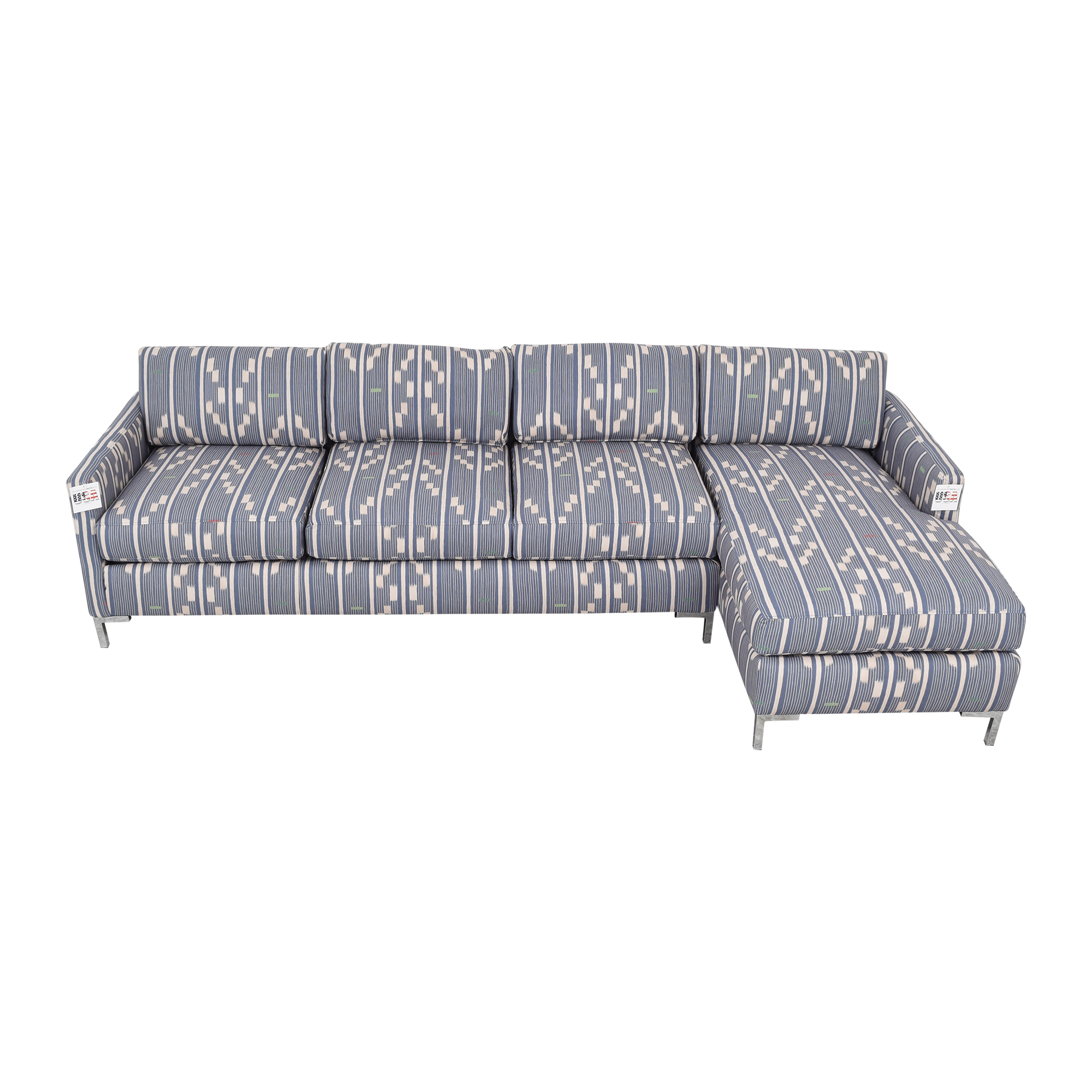 The Inside The Inside Right Facing Modern Sectional in Linea Ikat for sale
