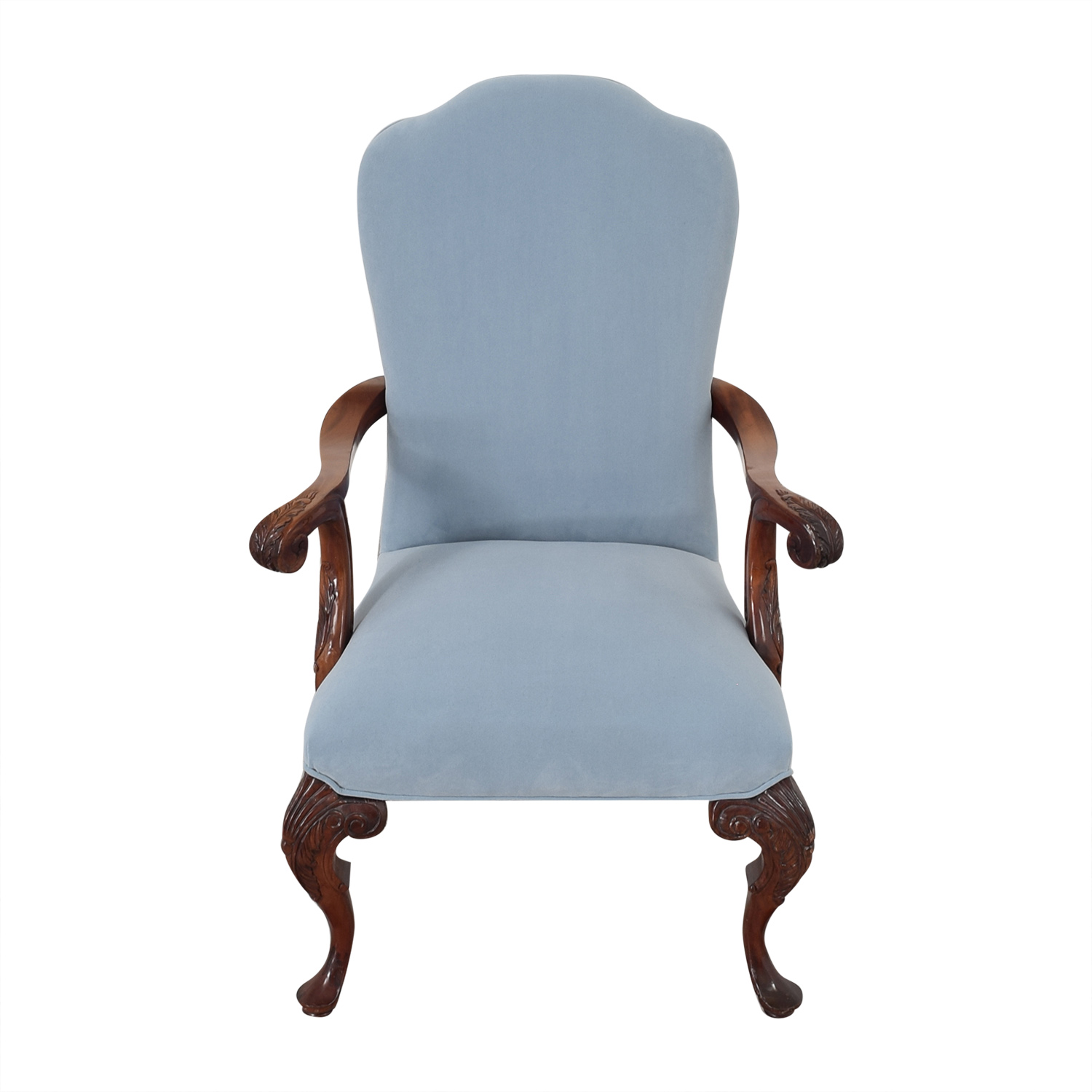 Louis XVI Style Accent Chair blue & dark brown