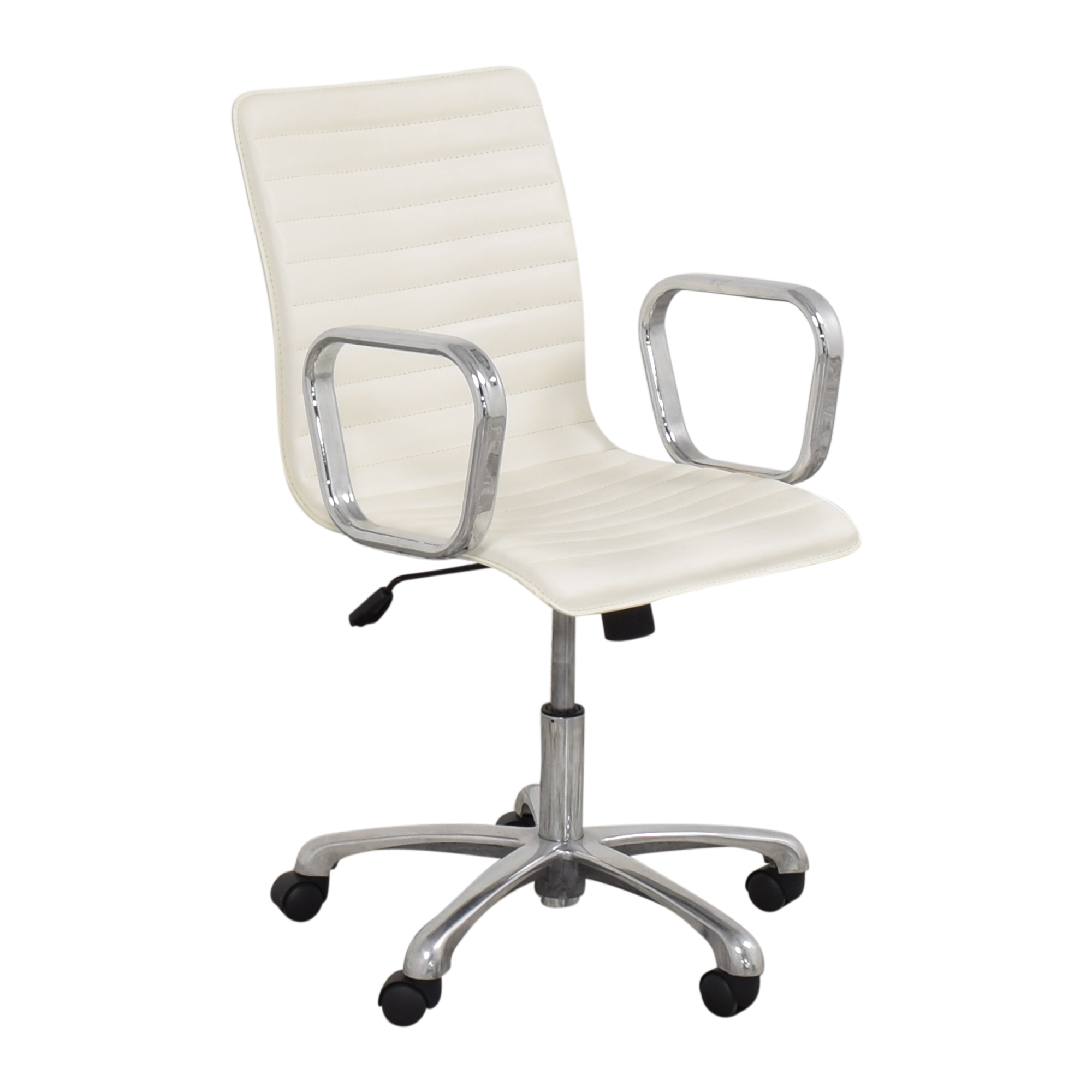 buy Crate & Barrel Ripple Ivory Office Chair with Chrome Base Crate & Barrel Home Office Chairs