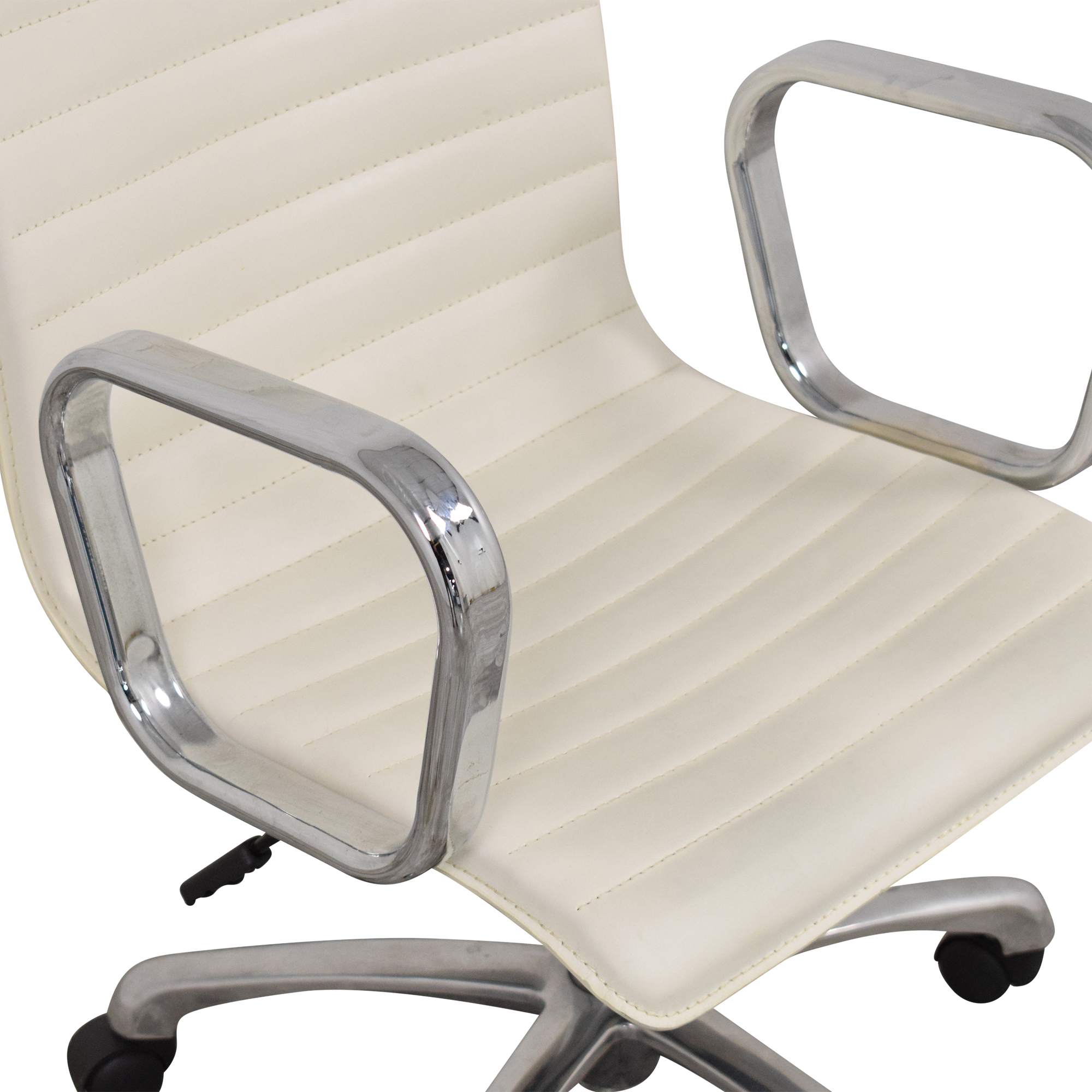 Crate & Barrel Crate & Barrel Ripple Ivory Office Chair with Chrome Base white