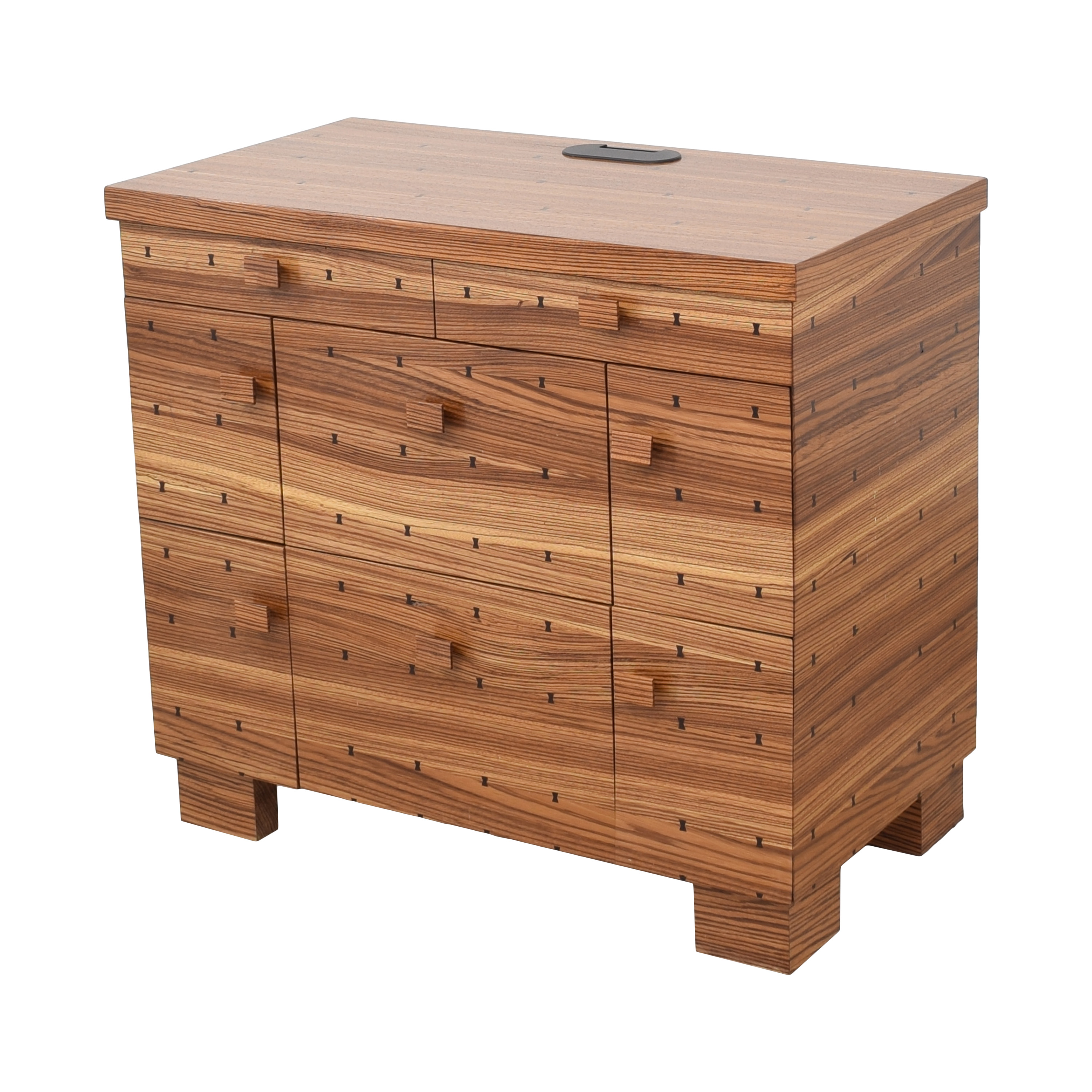 Storage Nightstand with Bowtie Inlay Design / Tables
