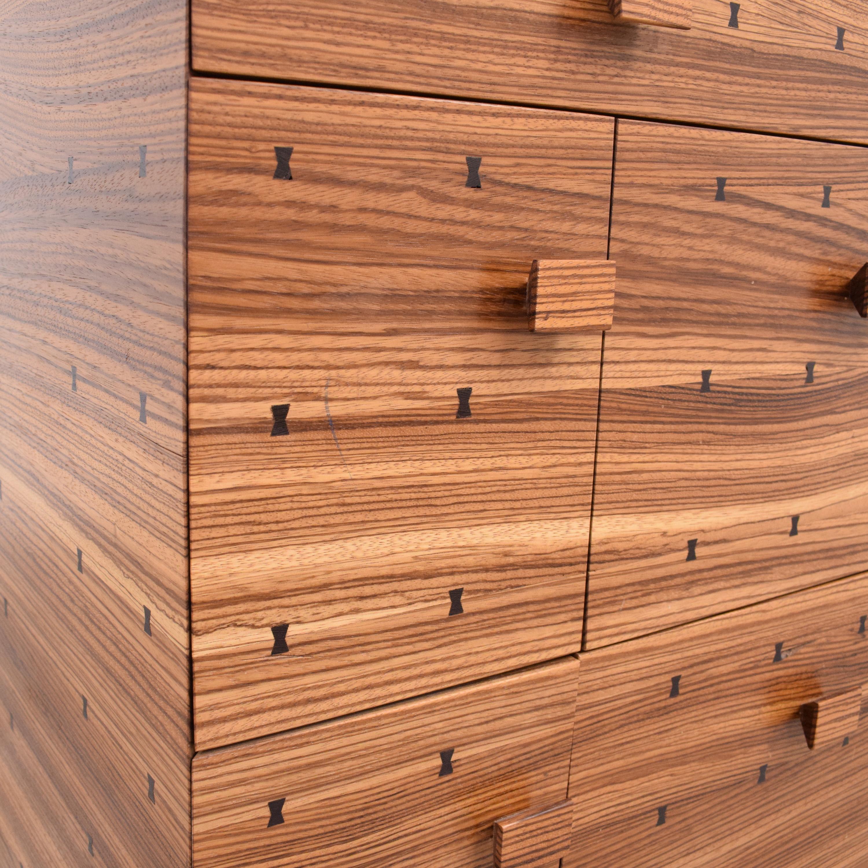 Storage Nightstand with Bowtie Inlay Design
