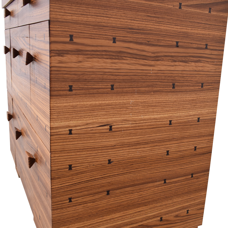 Storage Nightstand with Bowtie Inlay Design brown