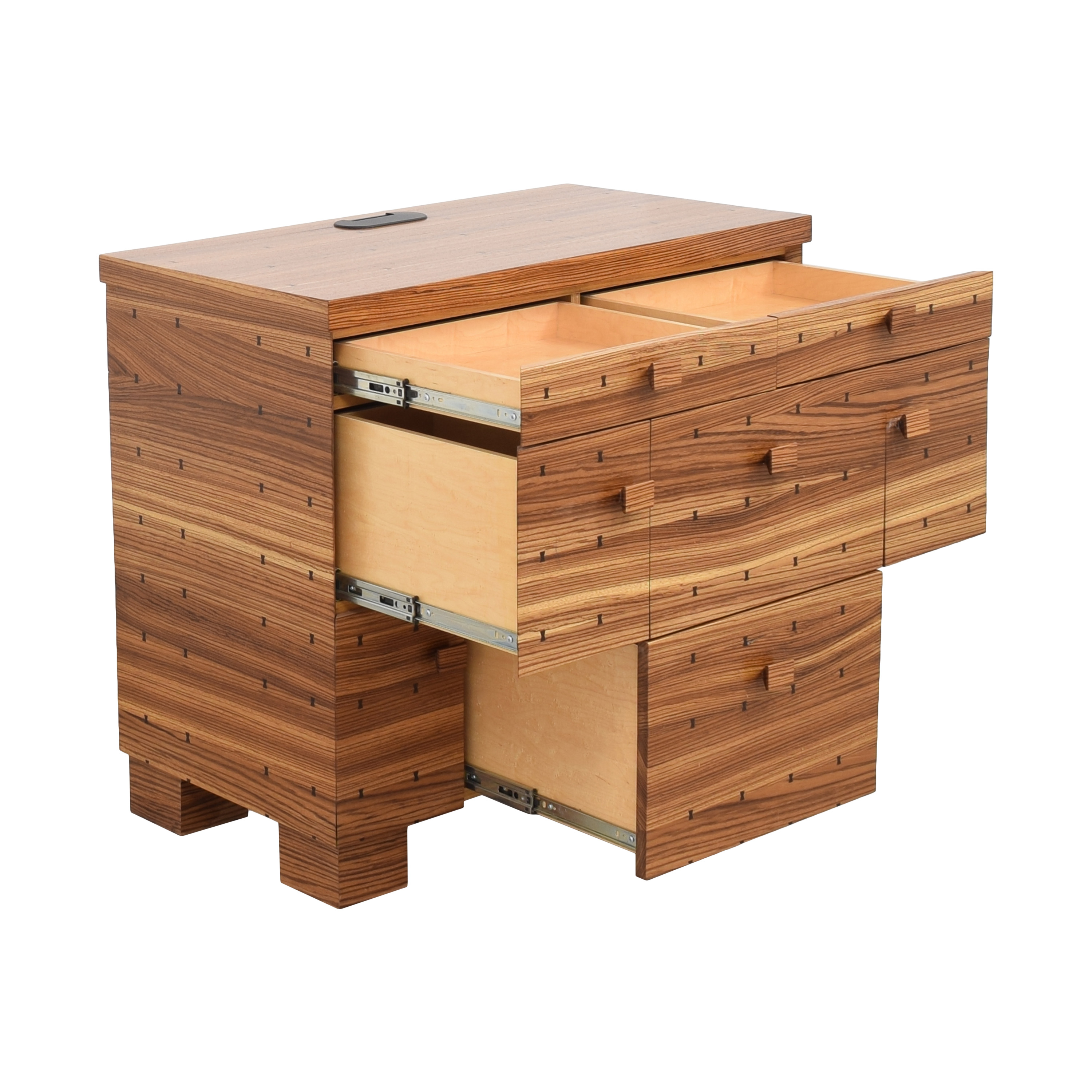 Storage Nightstand with Bowtie Inlay Design Tables