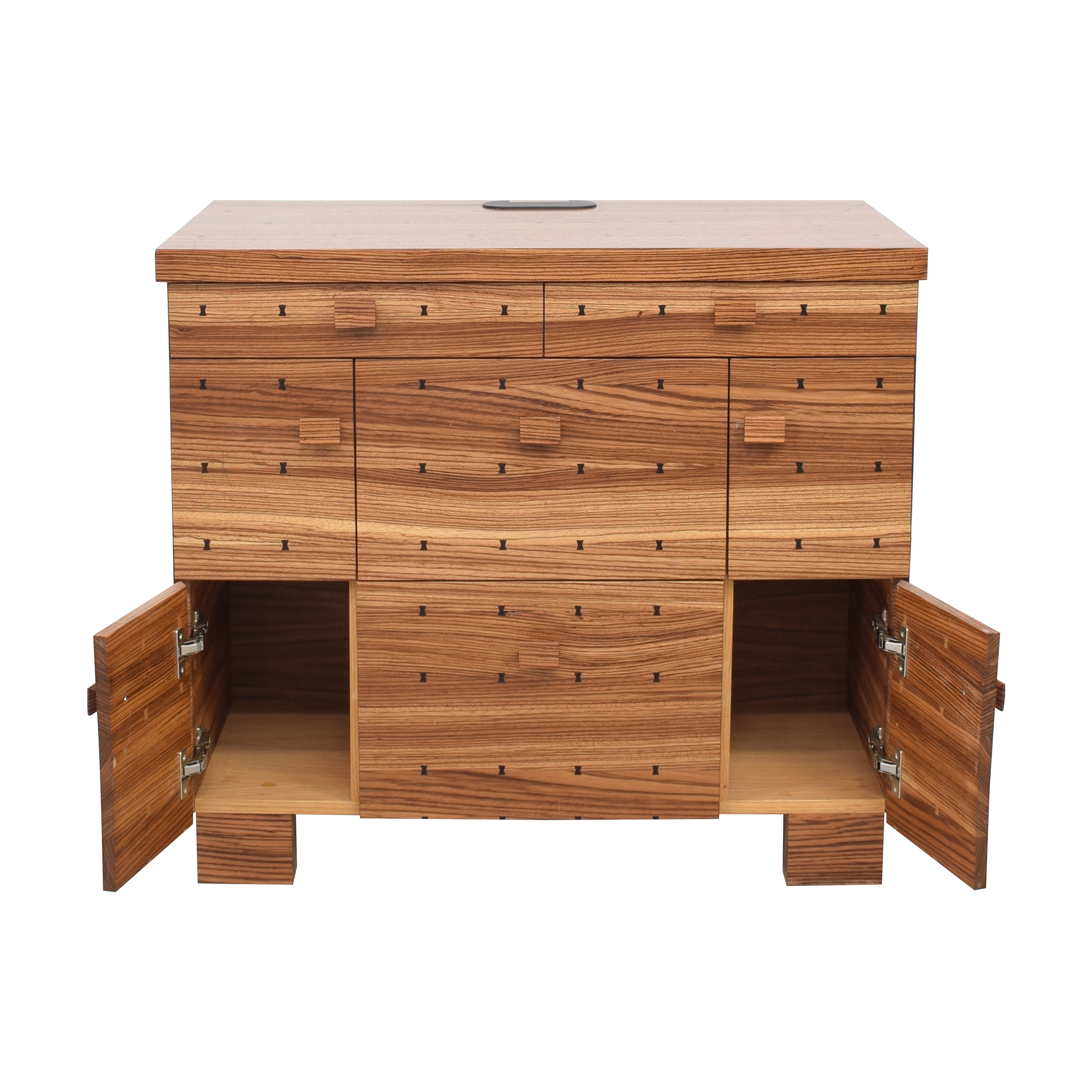 Storage Nightstand with Bowtie Inlay Design End Tables