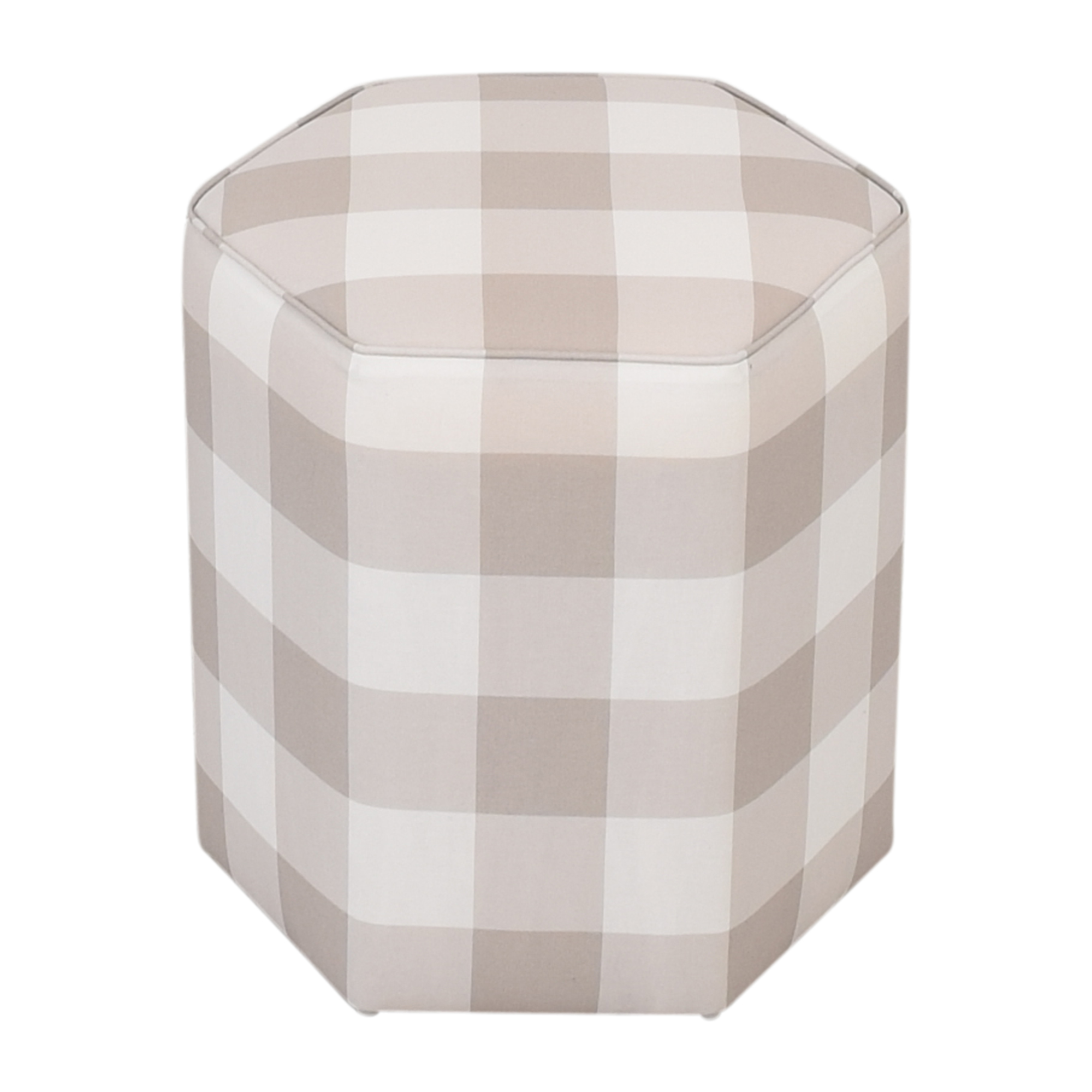 The Inside The Inside Hexagonal Ottoman white and off white