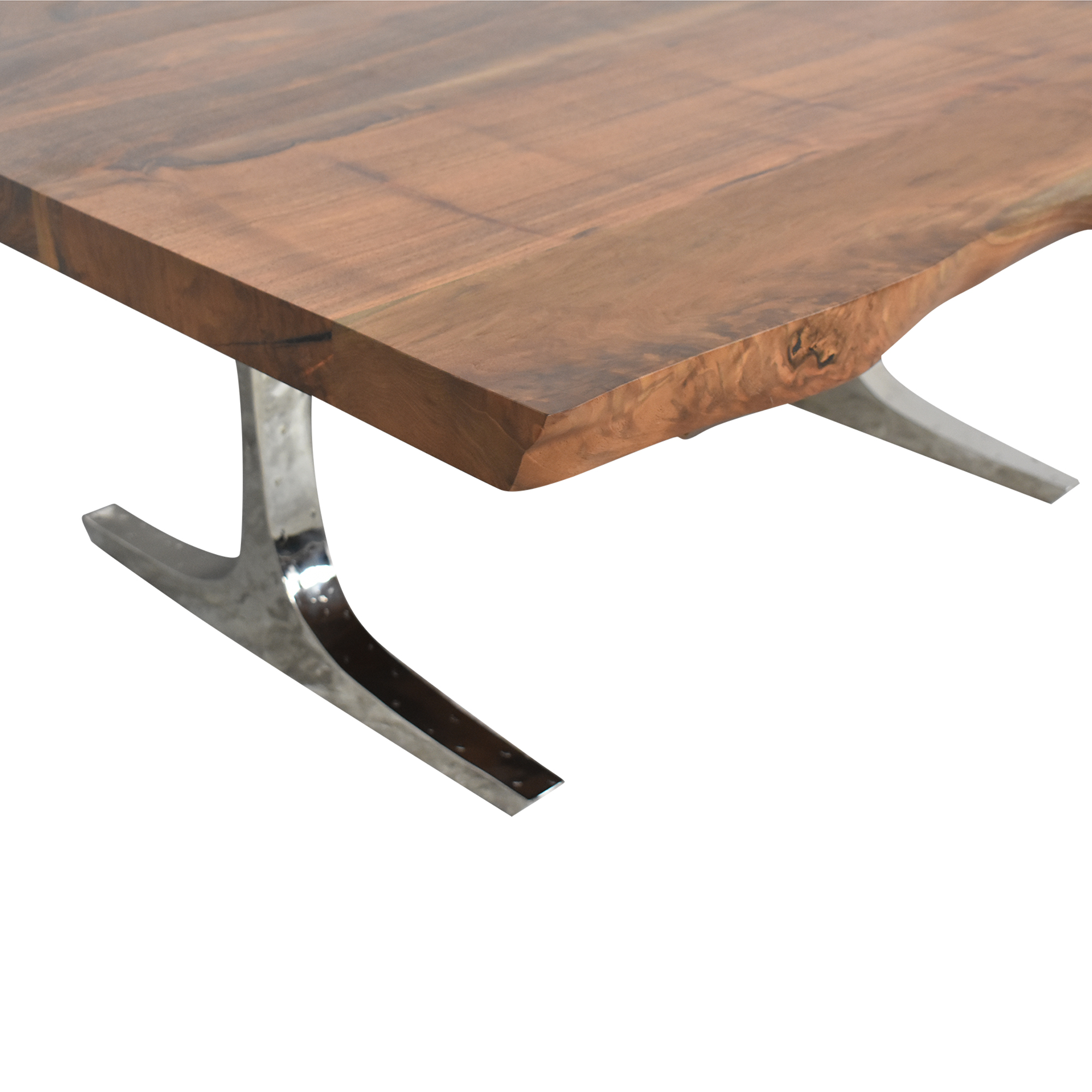 Hudson Furniture & Bedding Hudson Furniture Live Edge Dining Table brown and silver