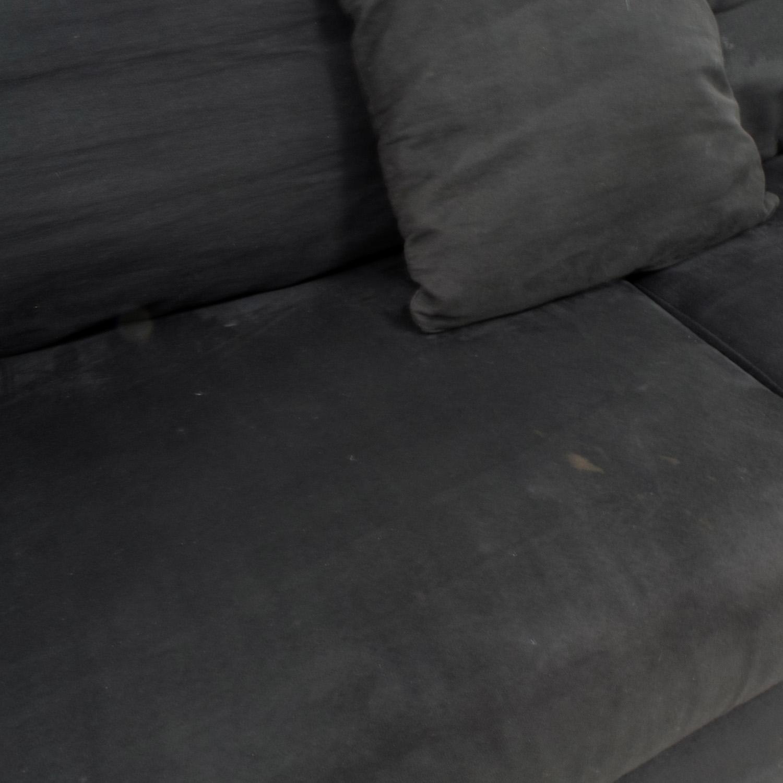 ... Shop Bobu0027s Furniture Black Micro Suede Couch Bobu0027s Furniture ...