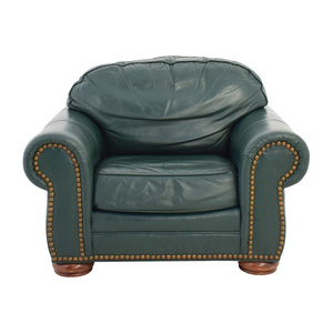 Clayton Marcus Clayton Marcus Oversized Green Leather Chair for sale