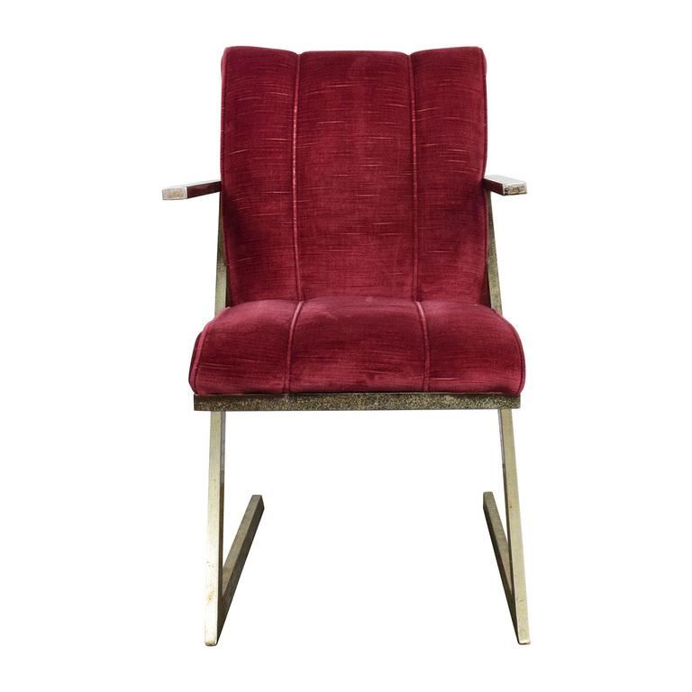Vintage Plush Burgundy Velvet Chair on sale