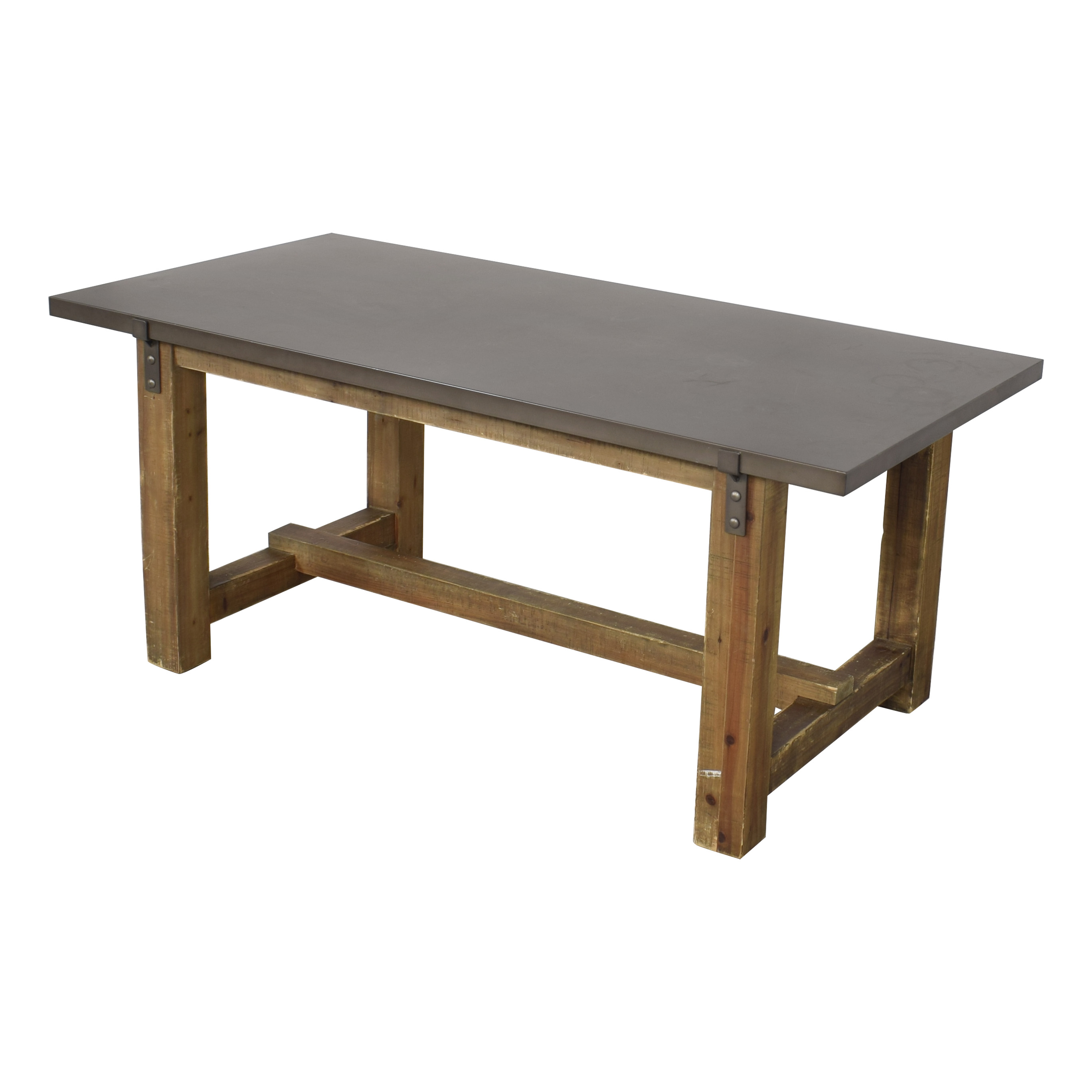 Restoration Hardware Restoration Hardware Reclaimed Wood & Zinc-Top Rectangular Dining Table second hand