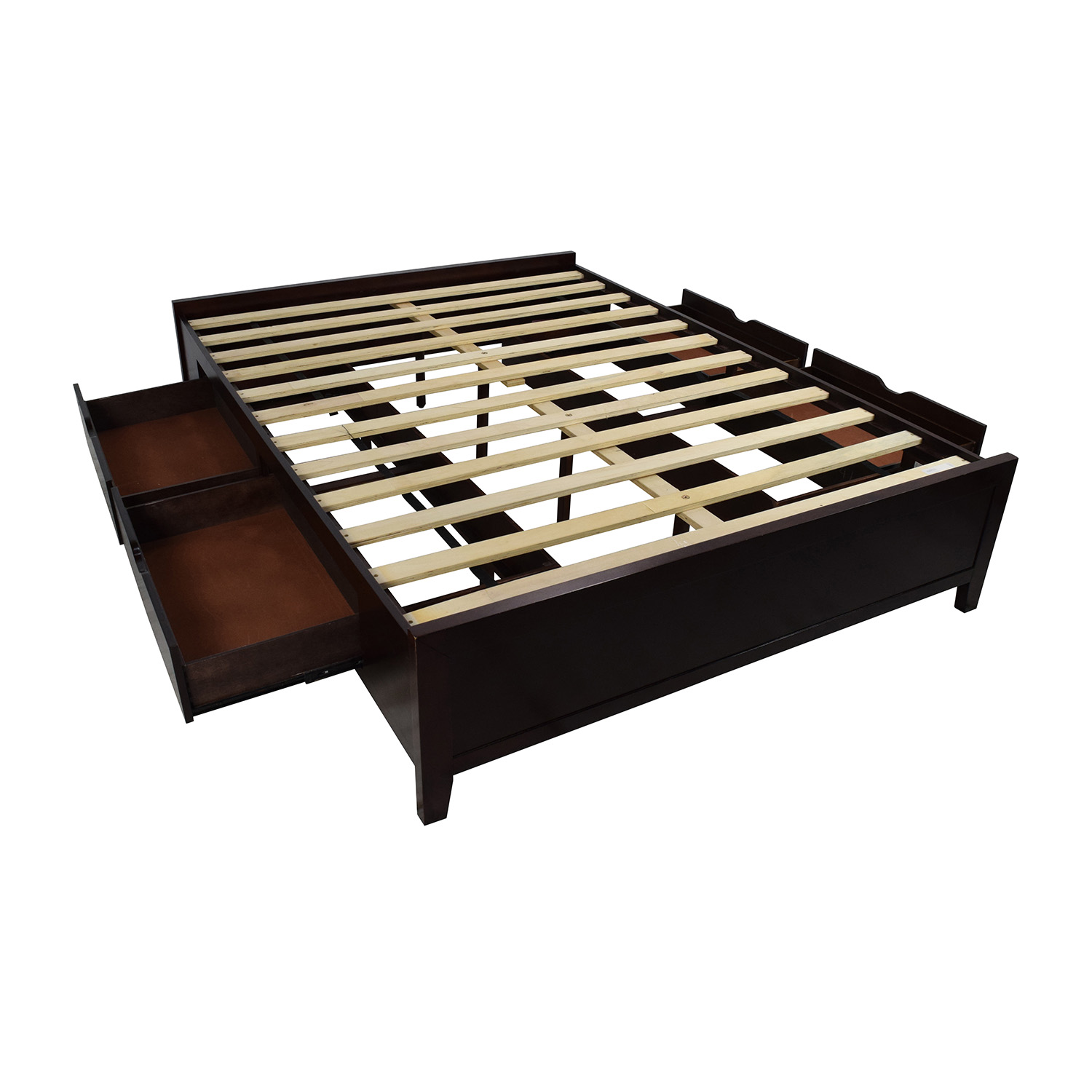 67 off wooden queen size storage bed frame beds for Queen size bed frame