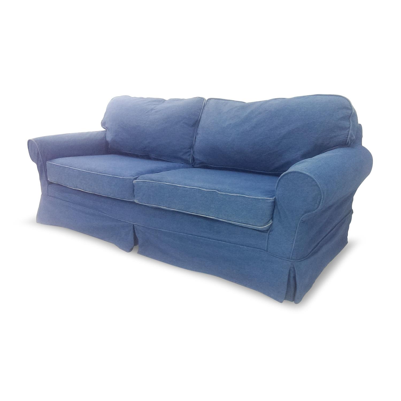 78% OFF - Blue Denim Couch / Sofas