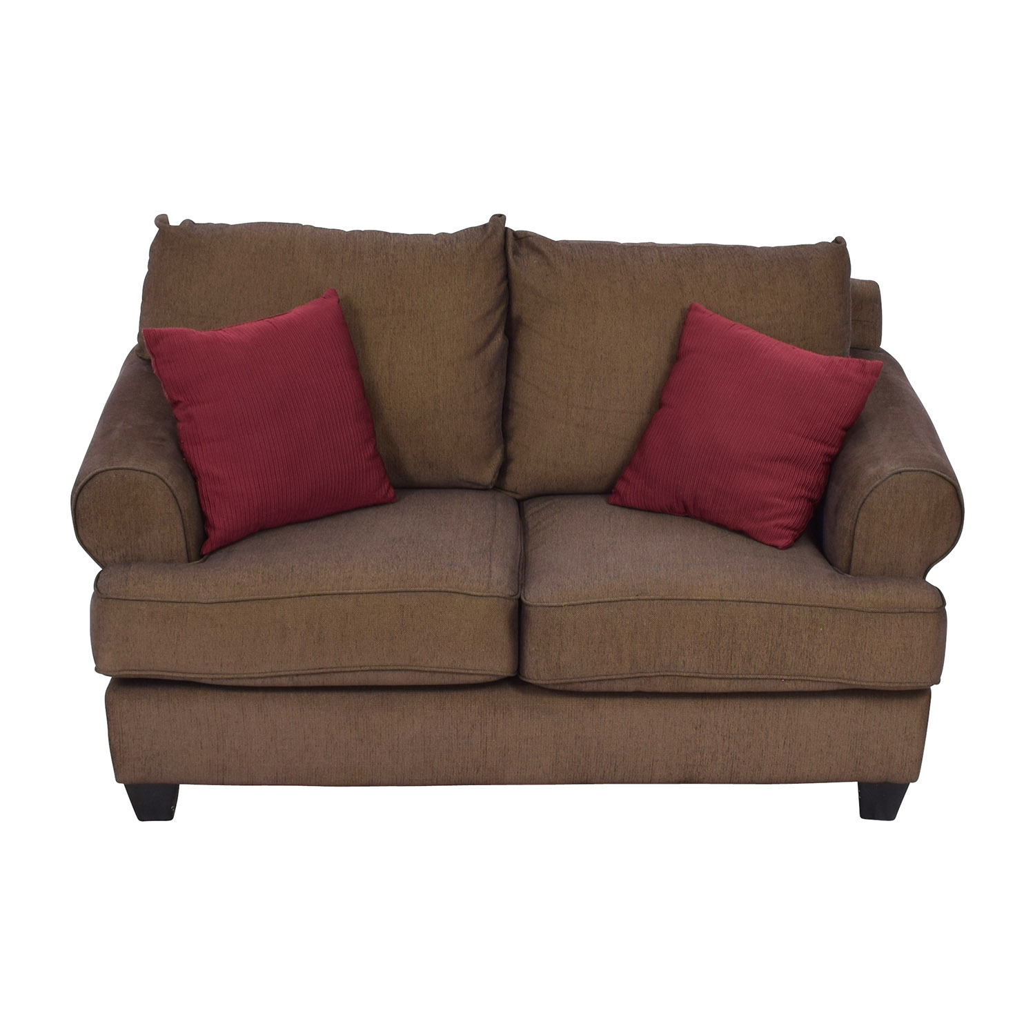 Brown Two-Seat Loveseat with Toss Pillows Sofas