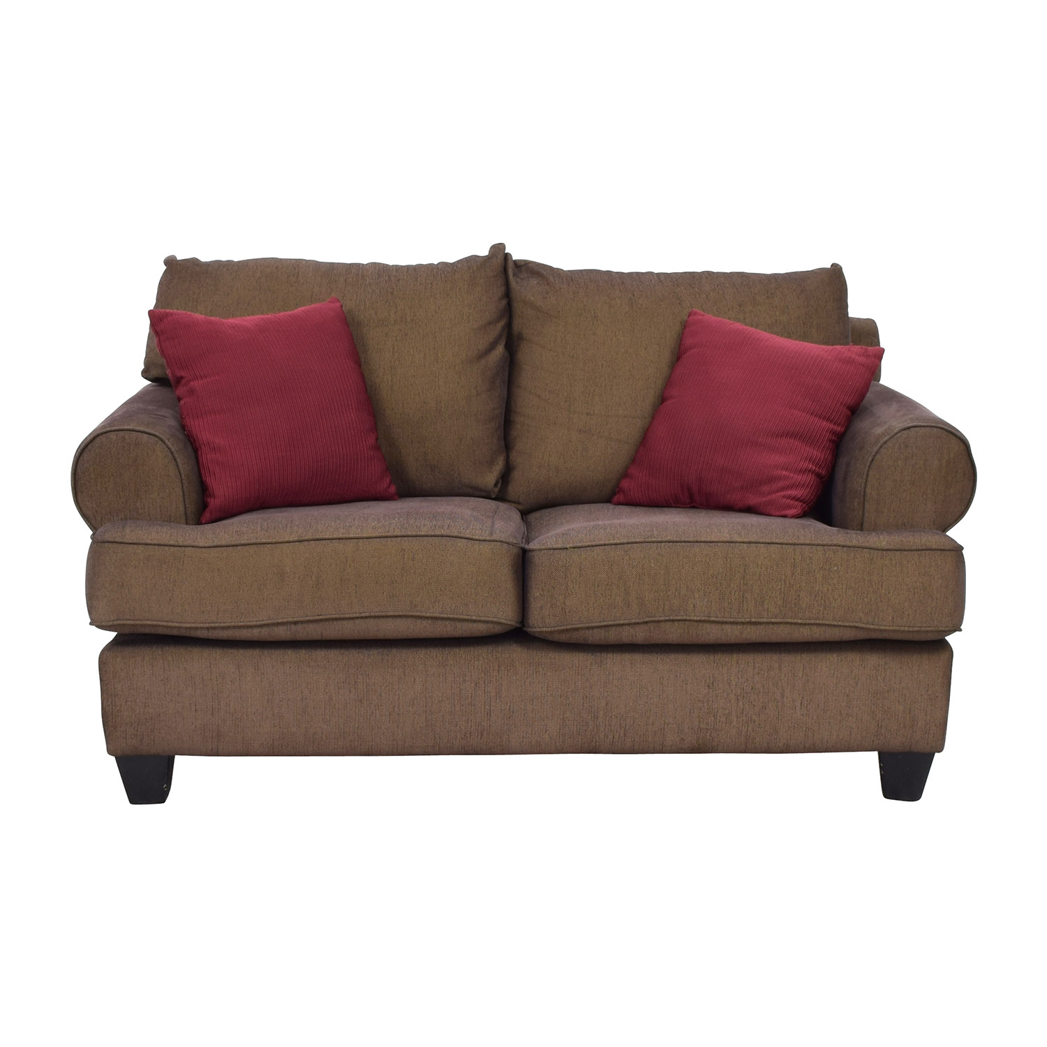 buy Brown Two-Seat Loveseat with Toss Pillows