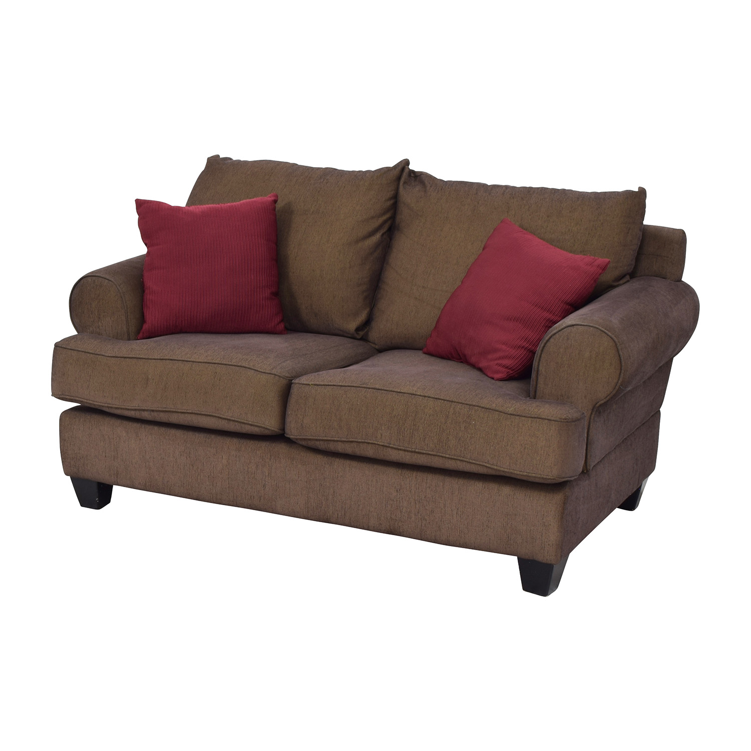 76 Off Brown Two Seat Loveseat With Toss Pillows Sofas