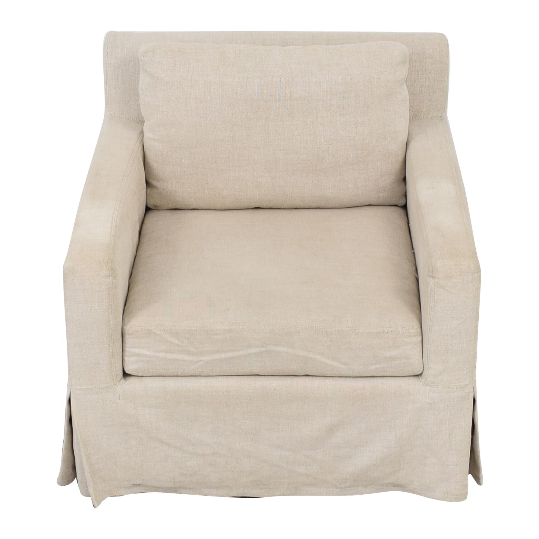 shop Restoration Hardware Belgian Linen Track Arm Slipcovered Chair Restoration Hardware
