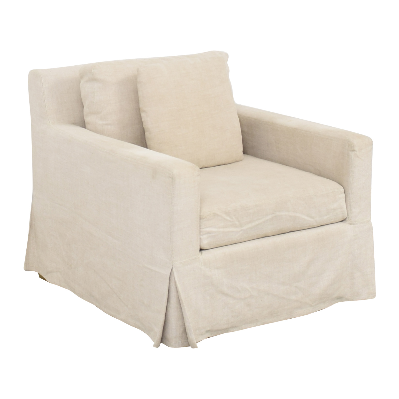 Restoration Hardware Restoration Hardware Belgian Linen Track Arm Slipcovered Chair on sale