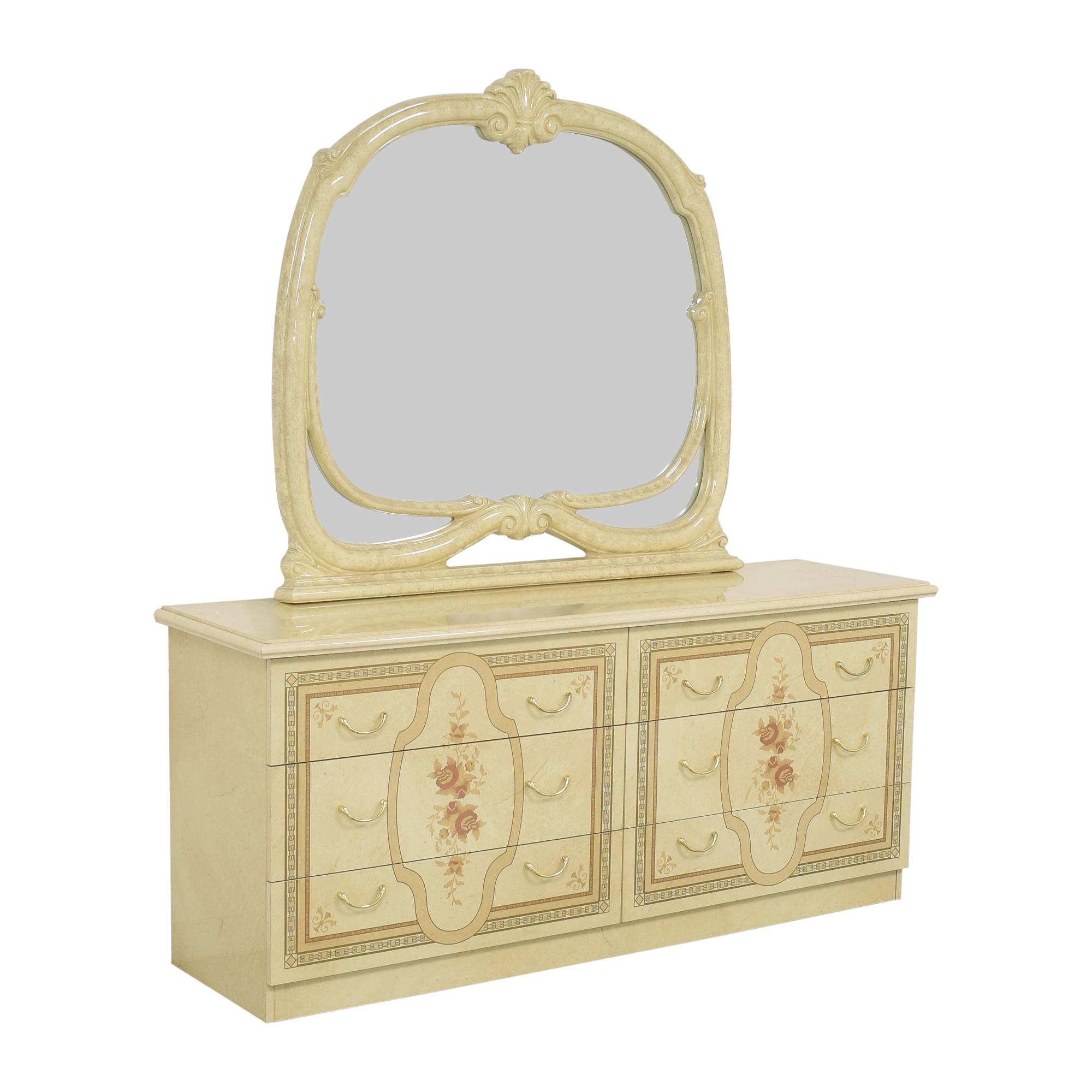 Roma Furniture Roma Furniture Dresser with Mirror ivory