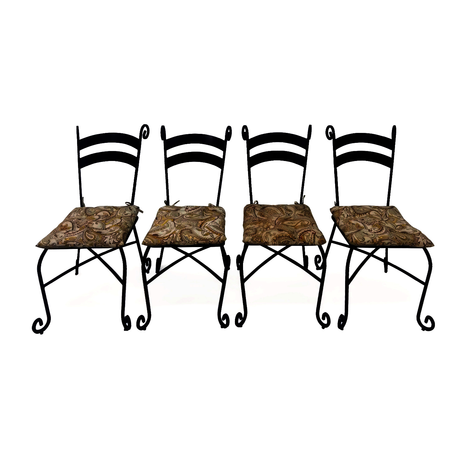Iron Outdoor Chairs Set of 4 discount