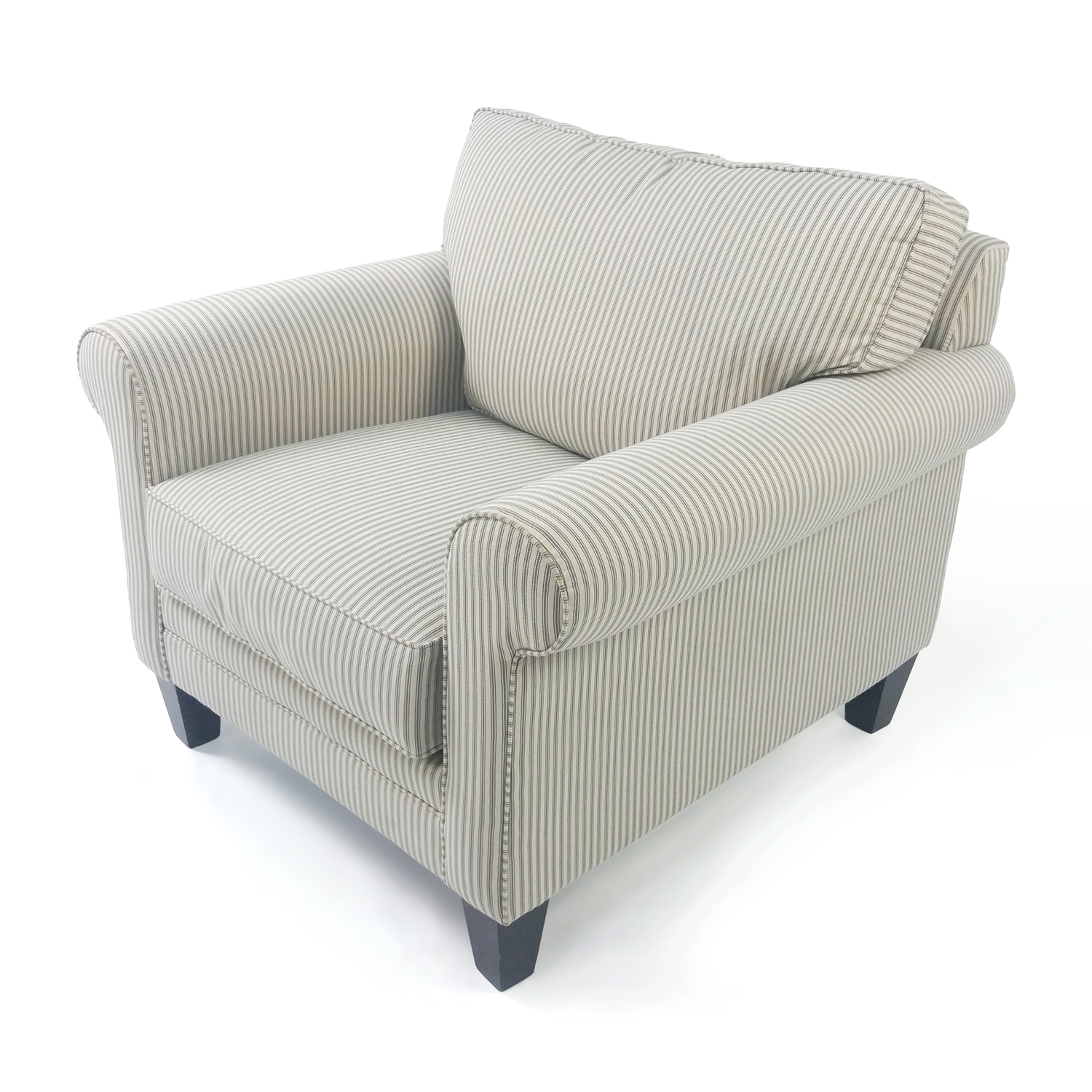 50% OFF Raymour and Flanigan Striped Cream Armchair Chairs