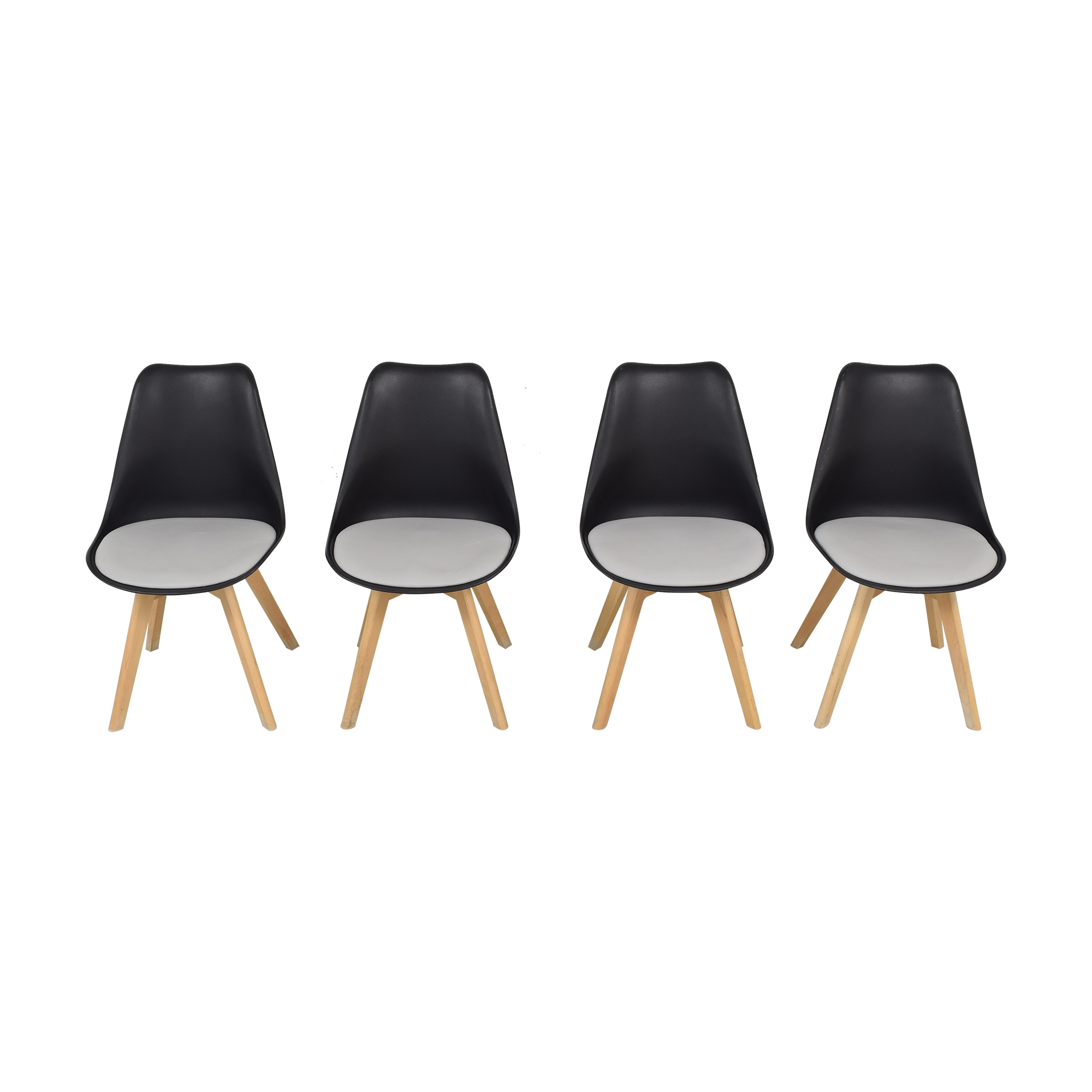 shop Black Molded Plastic Chairs with Wooden Legs  Dining Chairs