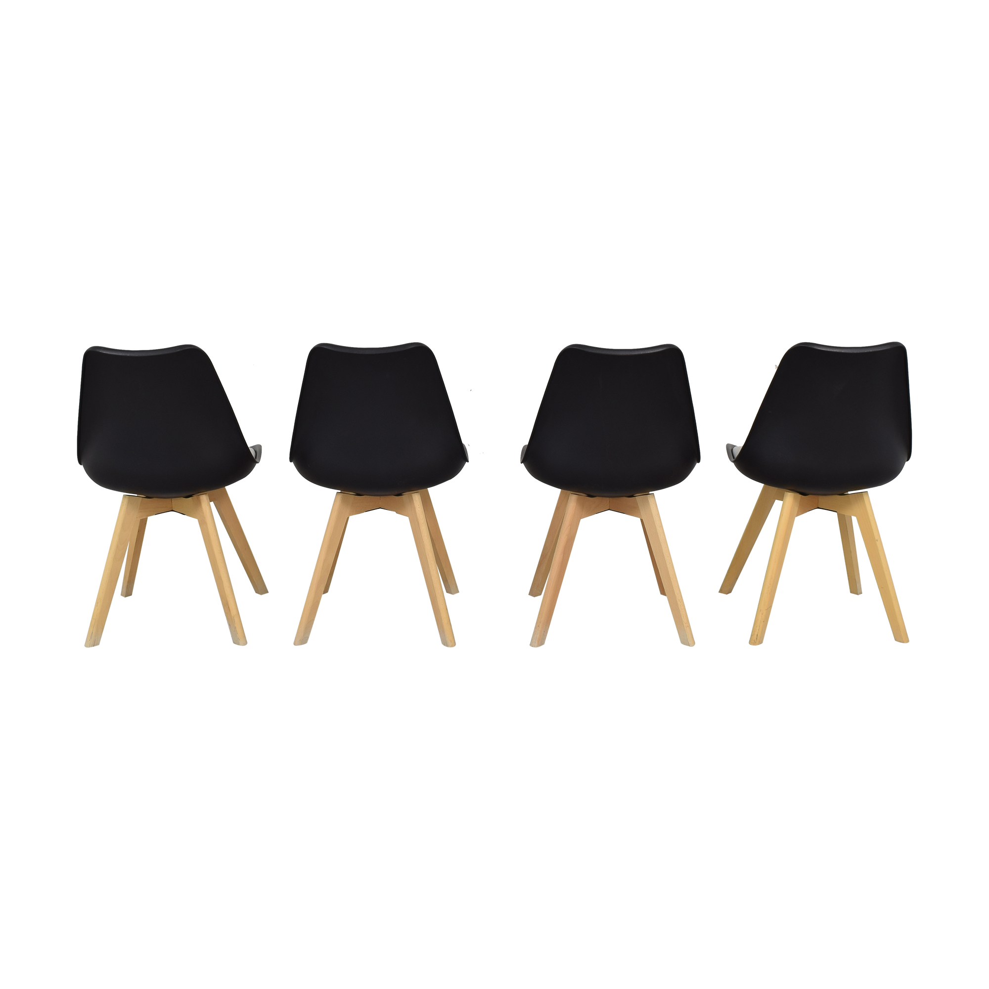 Black Molded Plastic Chairs with Wooden Legs pa