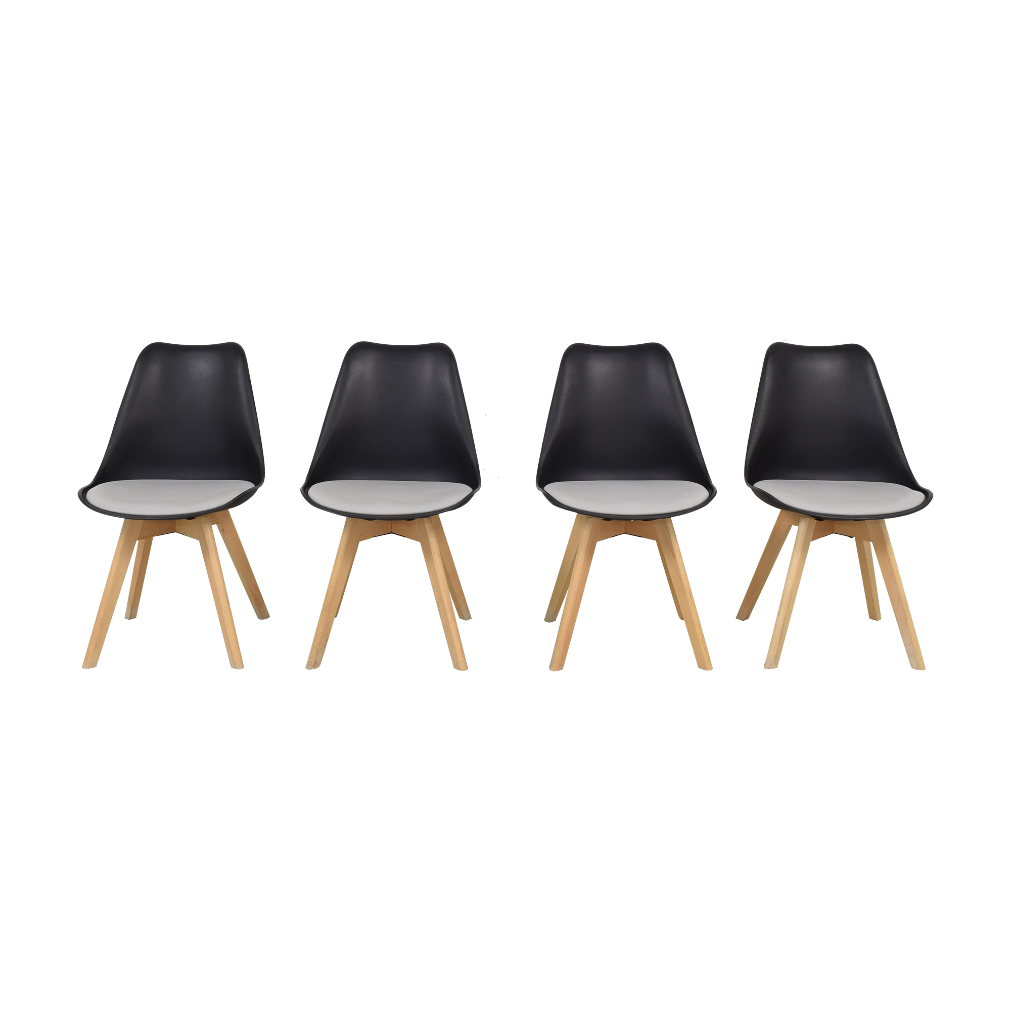 Black Molded Plastic Chairs with Wooden Legs