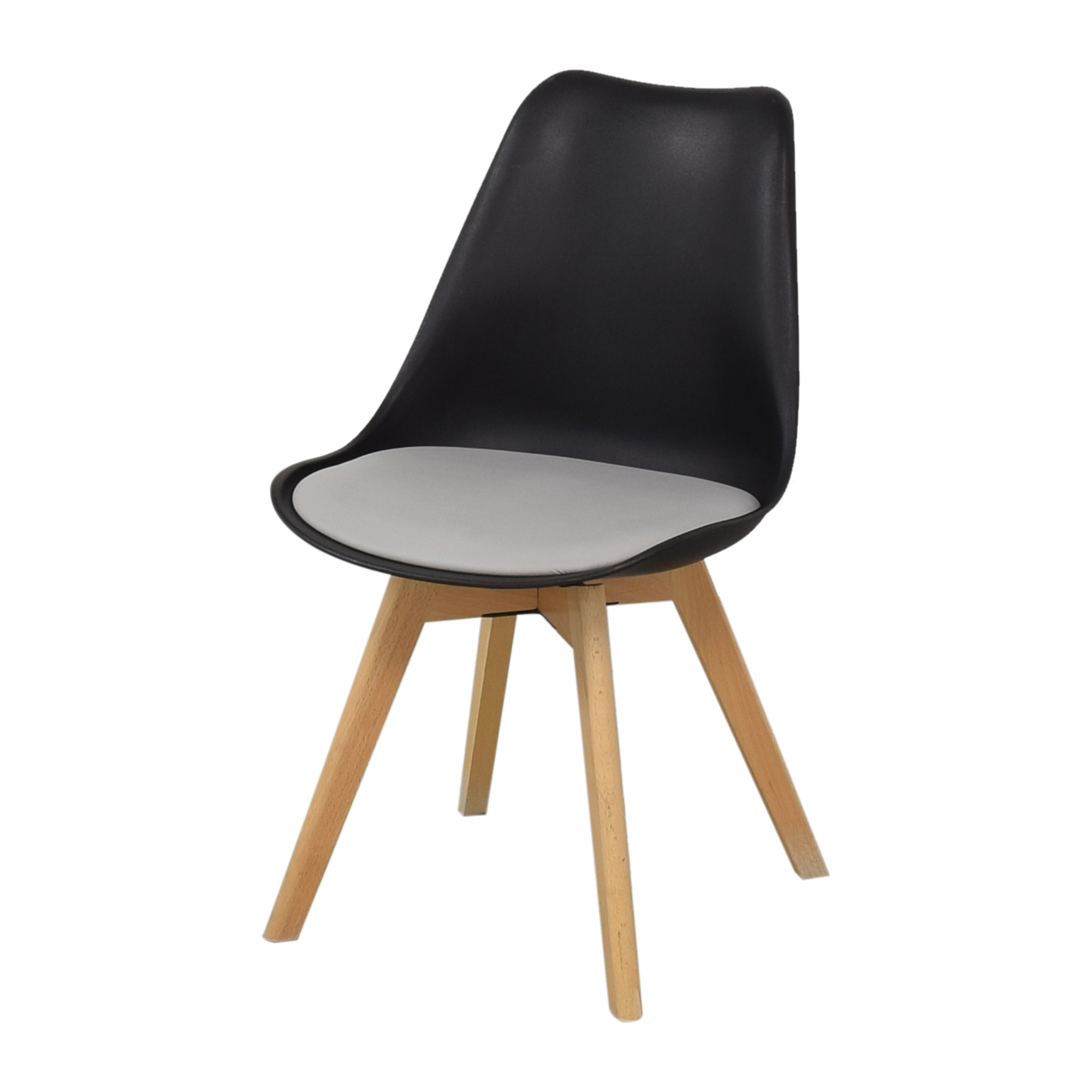 Black Molded Plastic Chairs with Wooden Legs Chairs