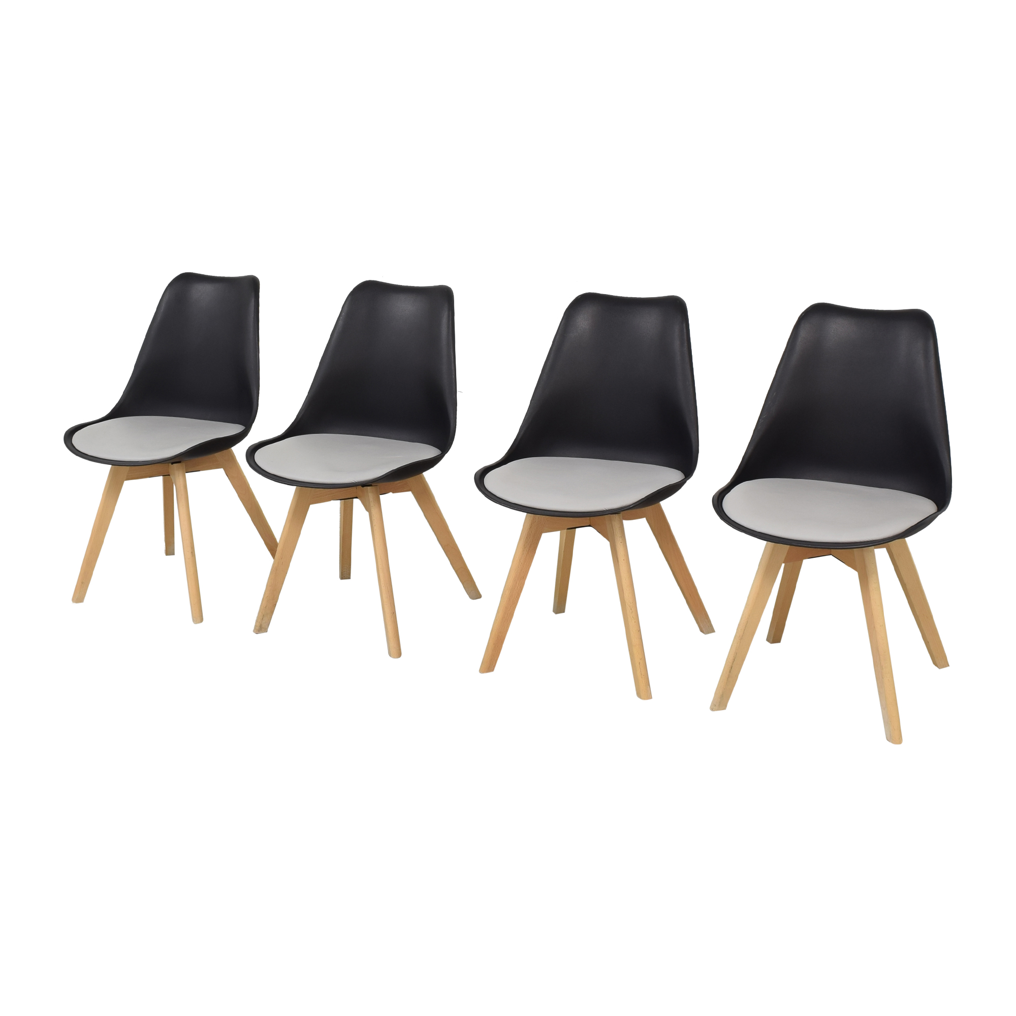 Black Molded Plastic Chairs with Wooden Legs ct