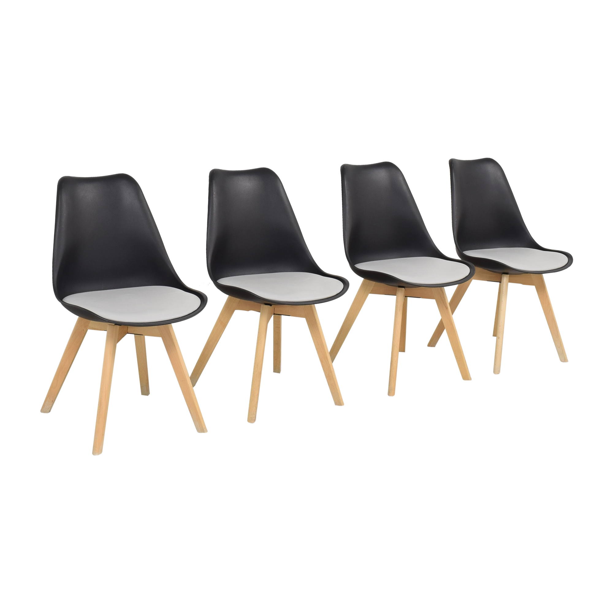 buy  Black Molded Plastic Chairs with Wooden Legs online