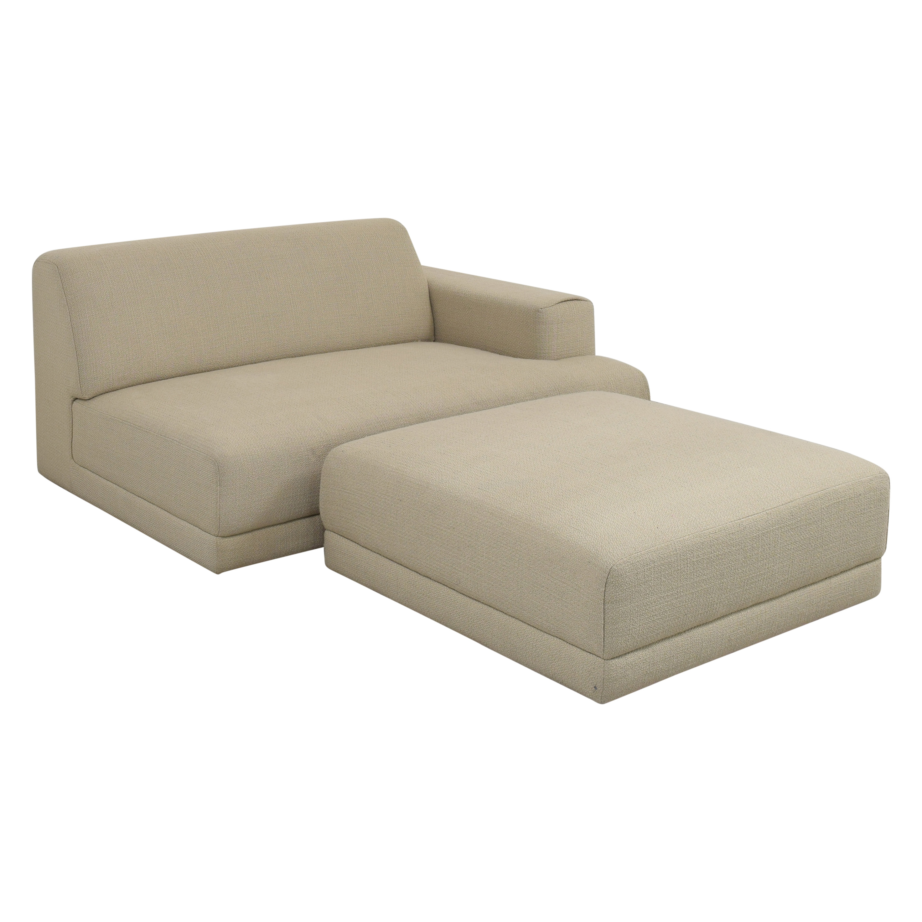 Crate & Barrel Crate & Barrel Right-Arm Chair and Ottoman for sale