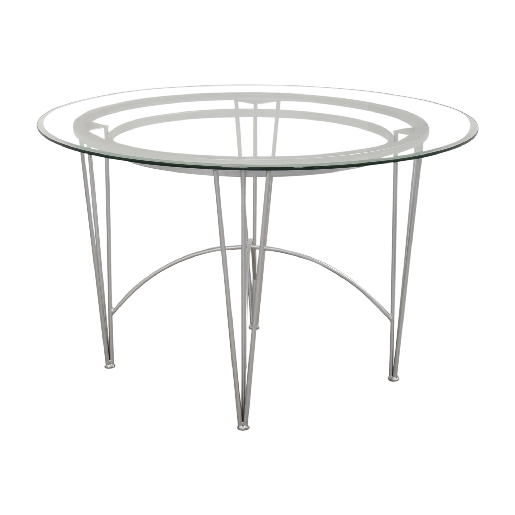 Round Glass Top Dining Table with Hairpin Legs discount