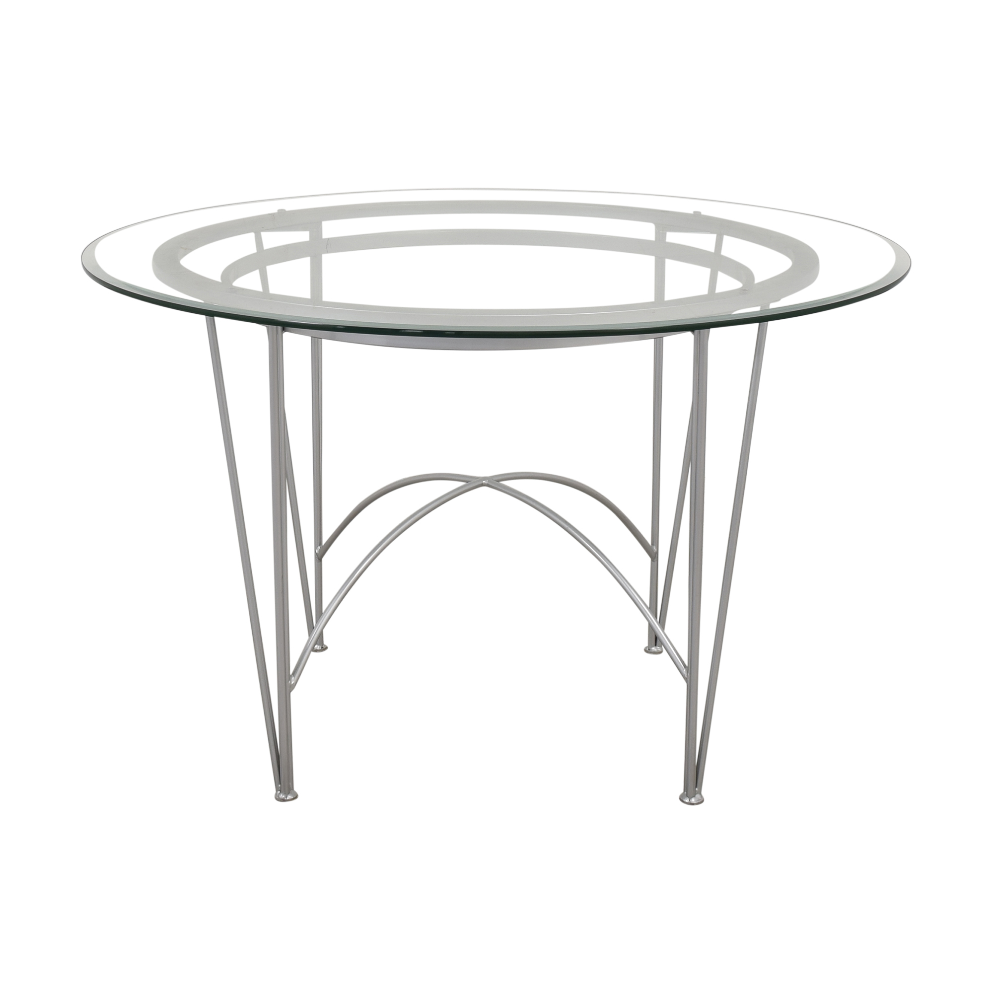 Round Glass Top Dining Table with Hairpin Legs silver and clear