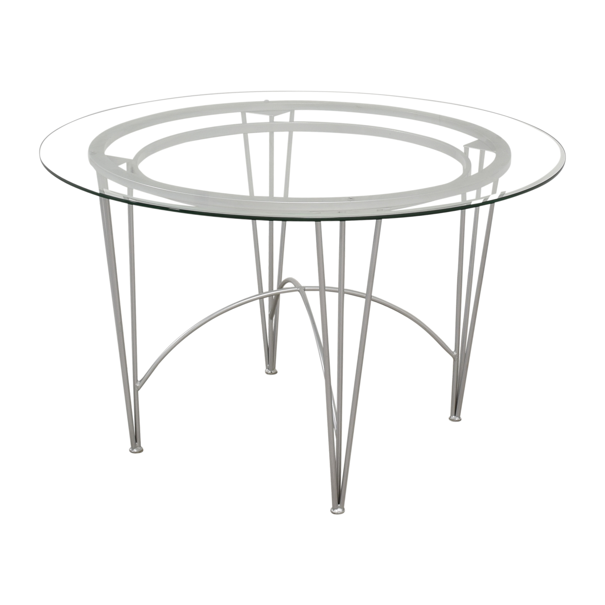 Round Glass Top Dining Table with Hairpin Legs