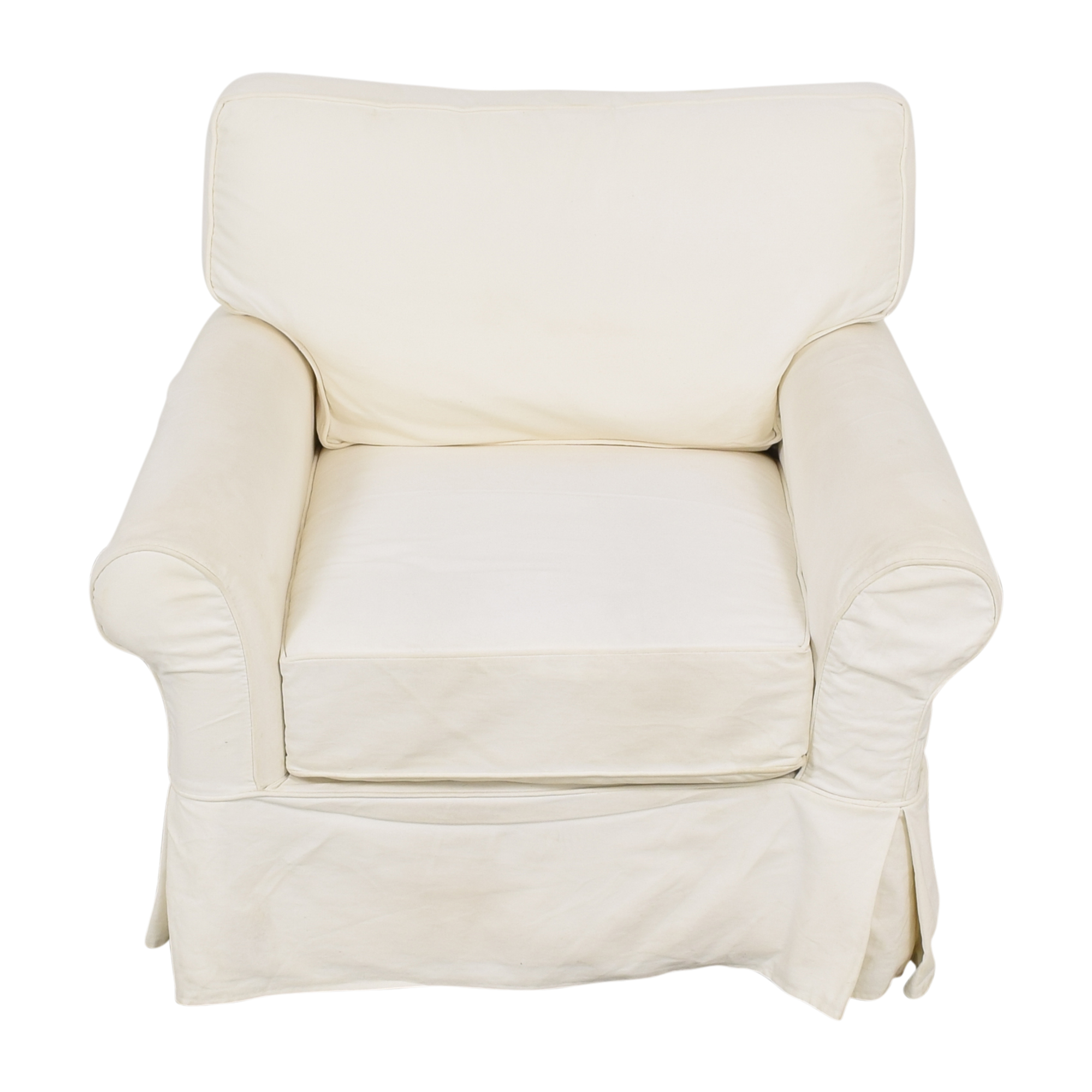 Crate & Barrel Crate & Barrel Slipcovered Arm Chair with Ottoman pa
