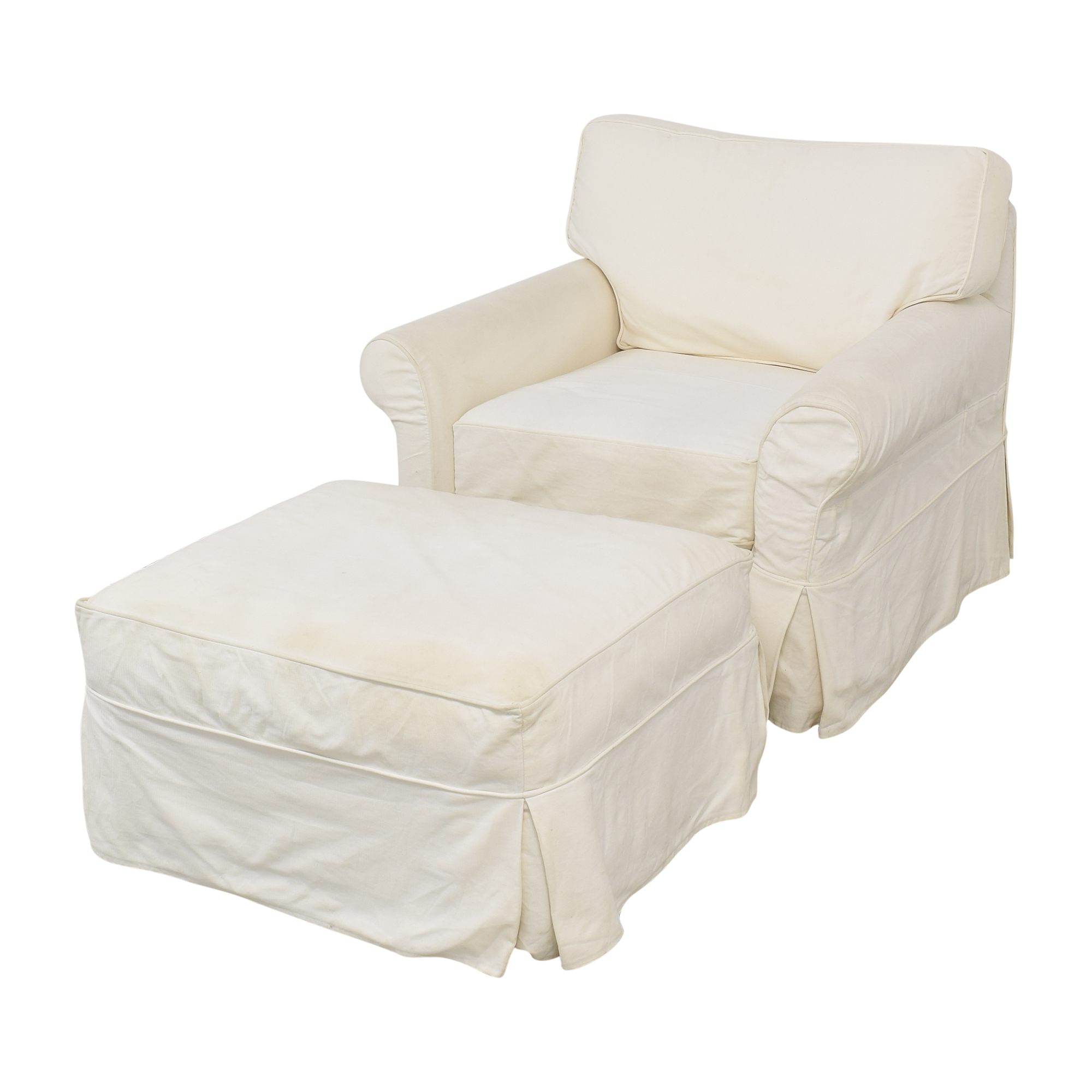 Crate & Barrel Crate & Barrel Slipcovered Arm Chair with Ottoman nyc